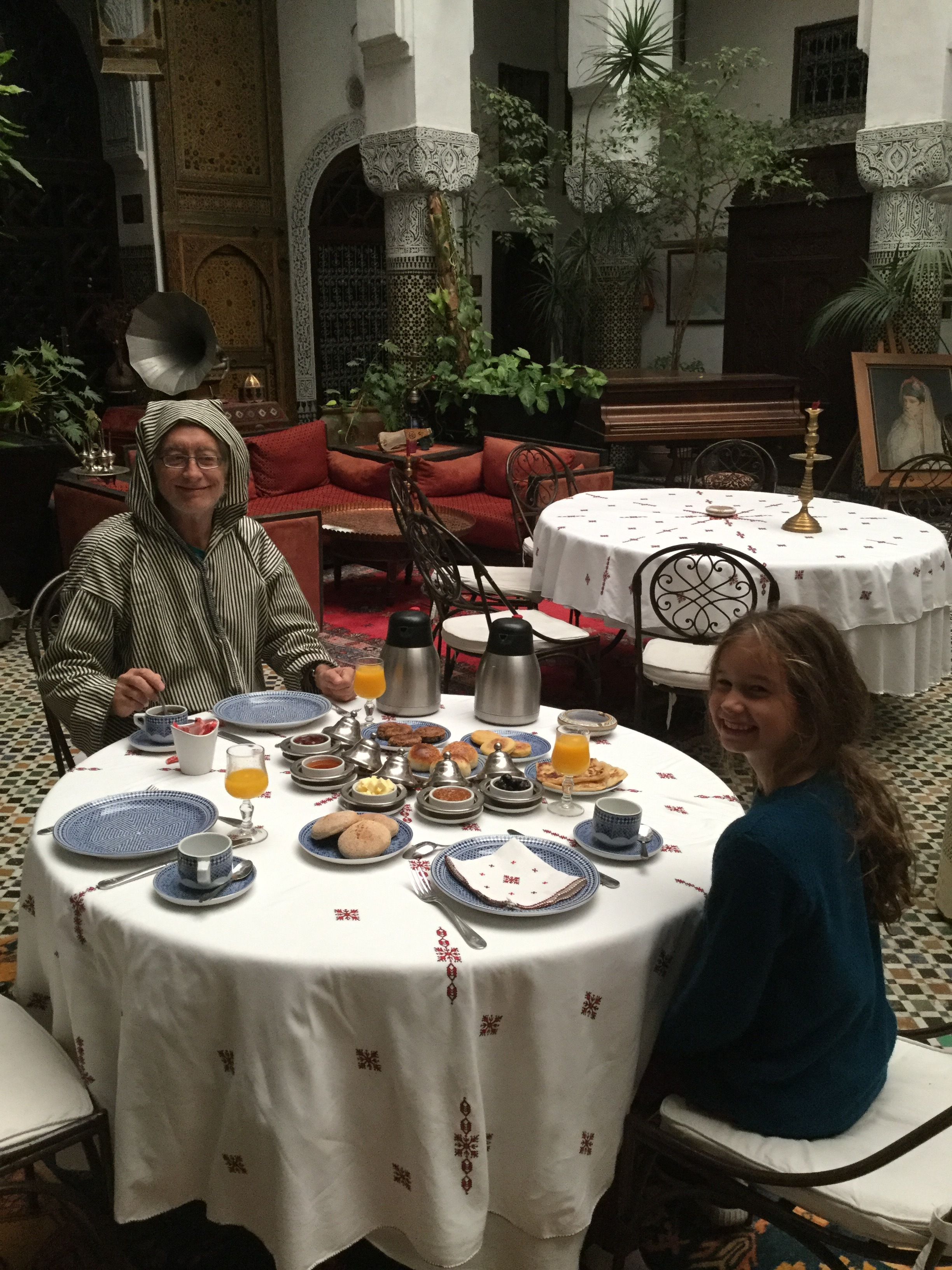 Dante and Lili at breakfast at our riad.