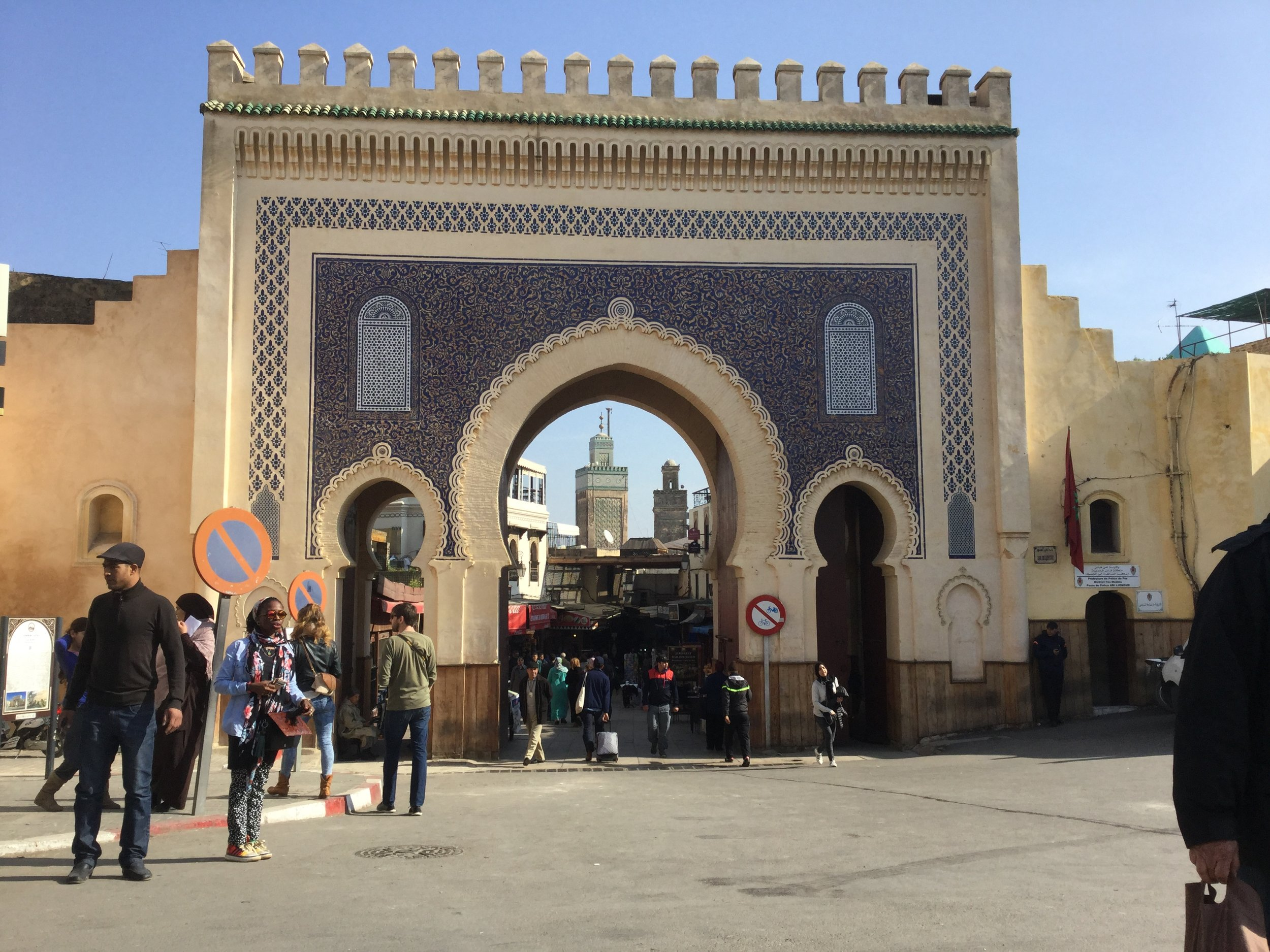 One of the gates to the old Medina. This famous view frames two minarets inside th gate.