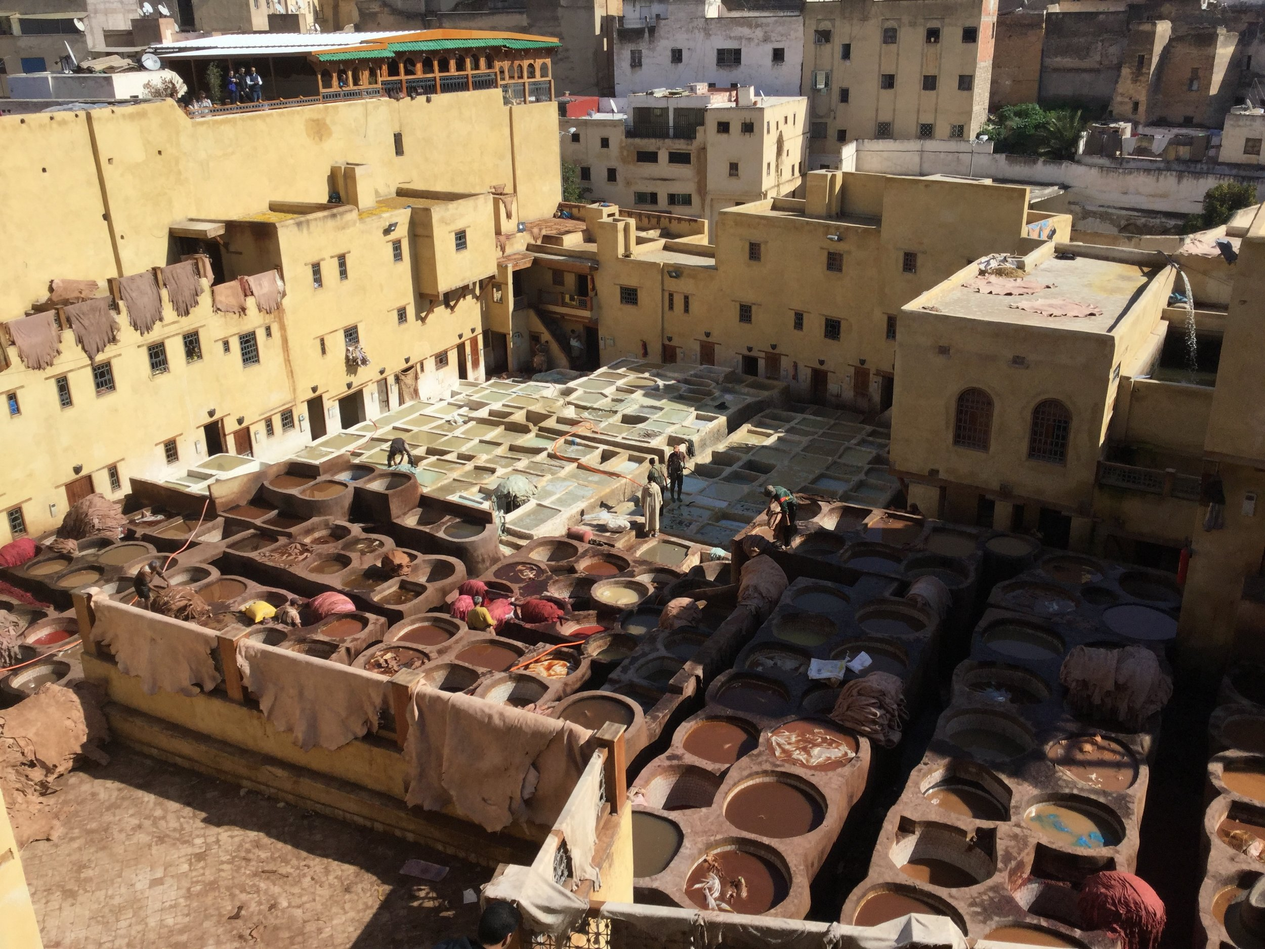 View into the tanneries. Leatherworks are superb here, and all the materials are local. The leather comes mainly from camels, sheep and cows.