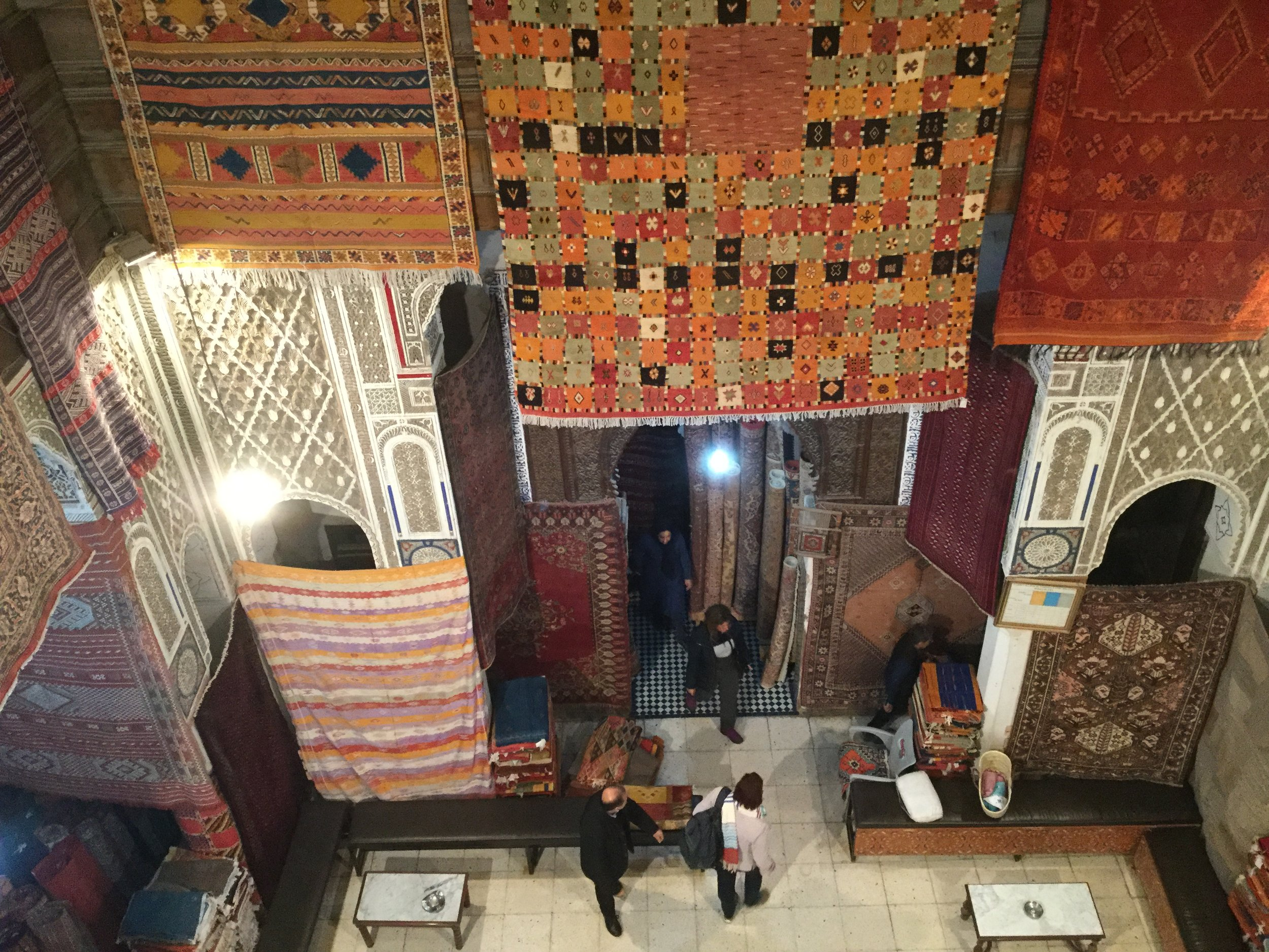 View inside a women's craft co-operative carpet showroom. The carpets were so beautiful, and some were being made on site as we visited. I started to feel that a handmade Moroccan carpet would be a great addition to our living room...