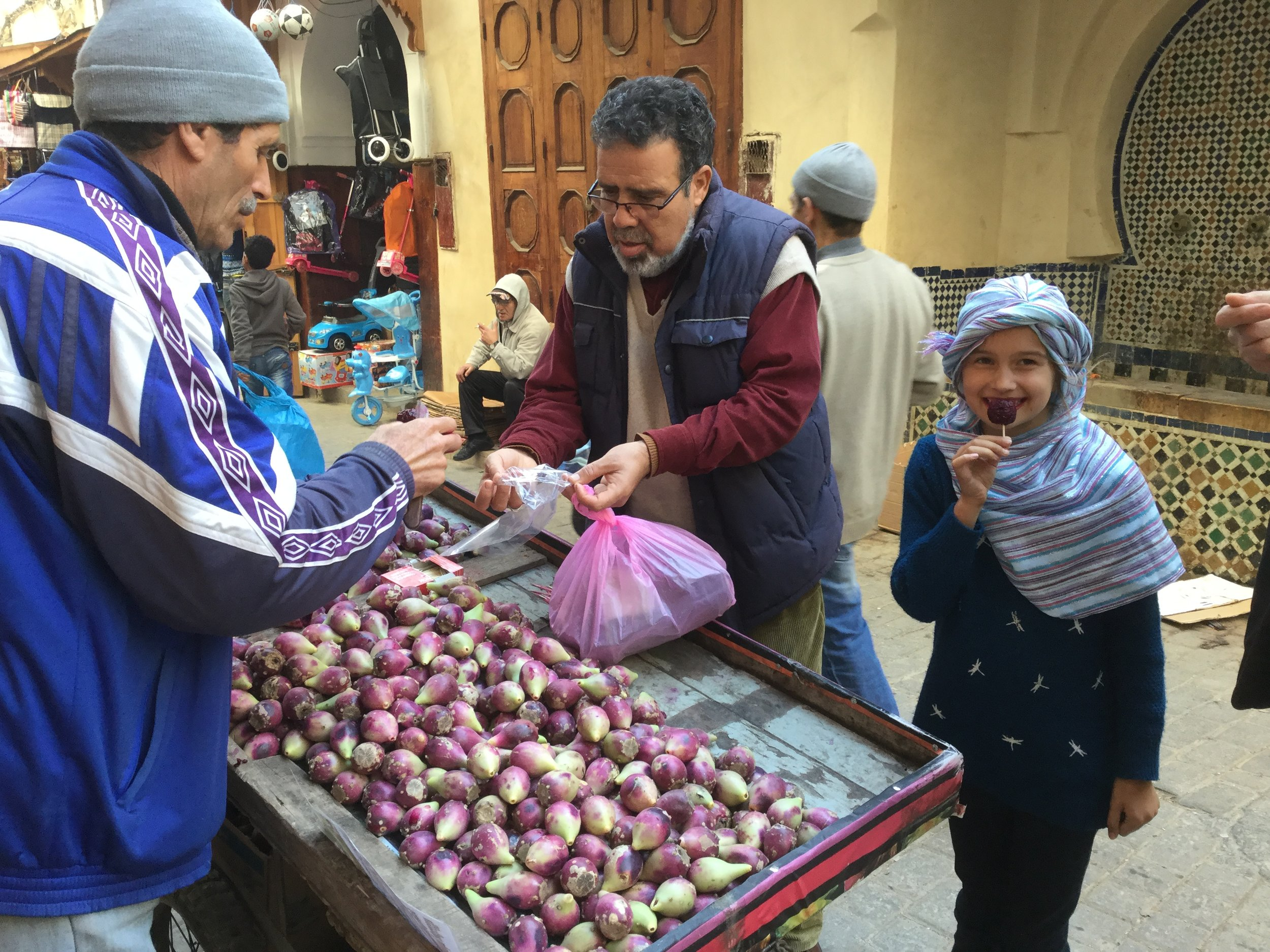 Buying prickly pears with our fantastic guide Jalil. (That's right - don't even think of touring the medina on your own. You will just get lost and miss many hidden gems).