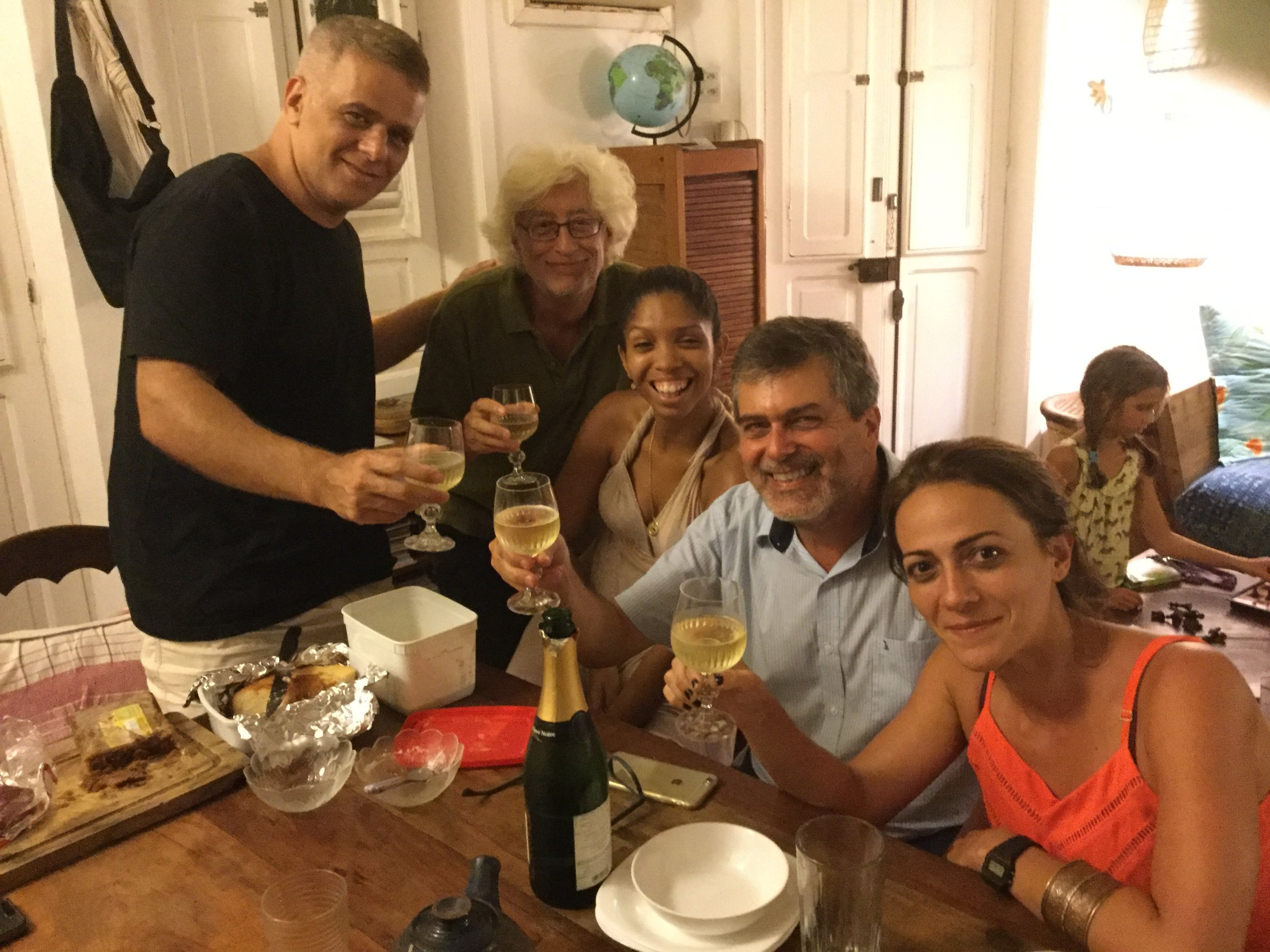 Then Luiz and his partner joined us. They brought desserts - and bubbles! Later in the course of the evening Luiz told us the story of his family...  which I am telling in another post.