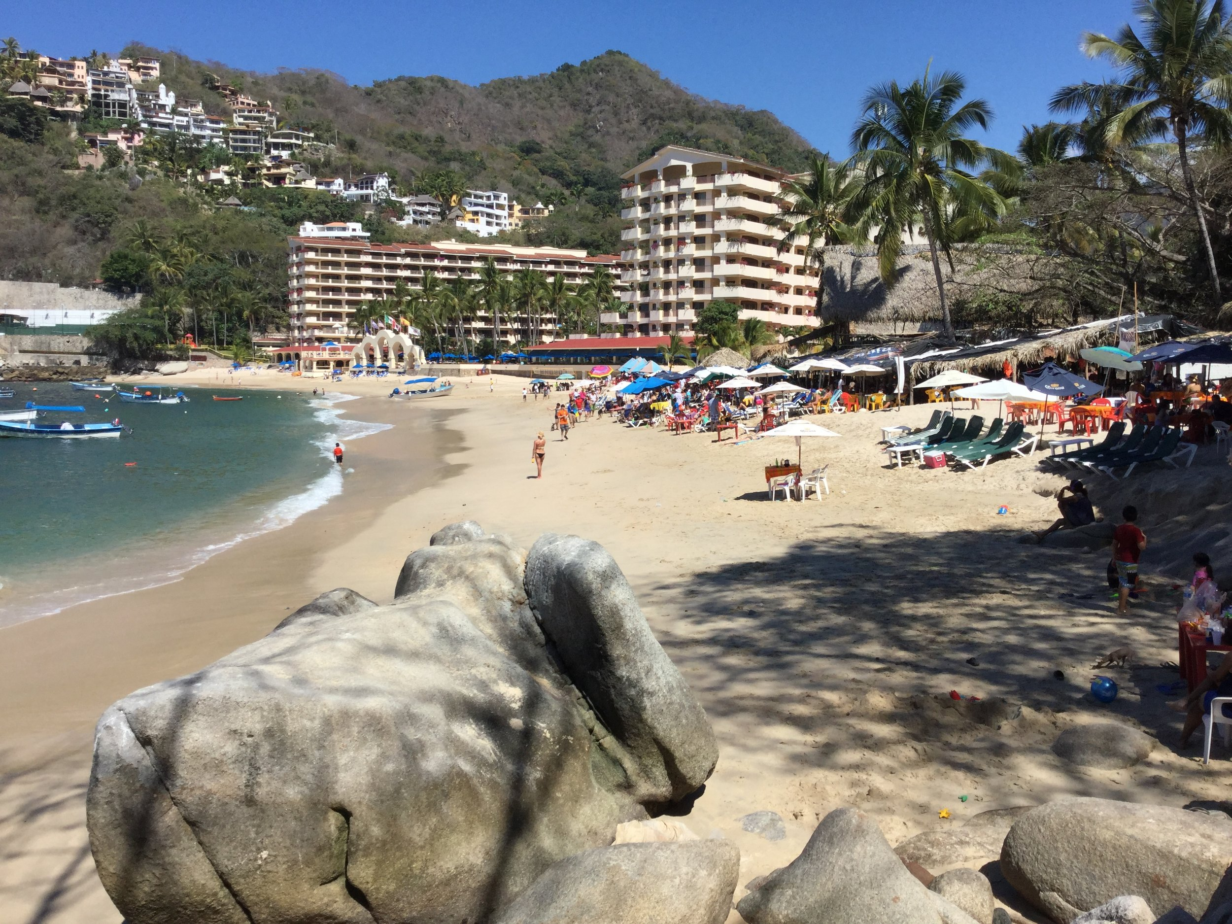 This is the Mismaloya beach 'where it all started'. John Huston movie Night of the Iguanas was filmed here. The Mismaloya Beach became popular before Puerto Vallarta tourism started in a big way.