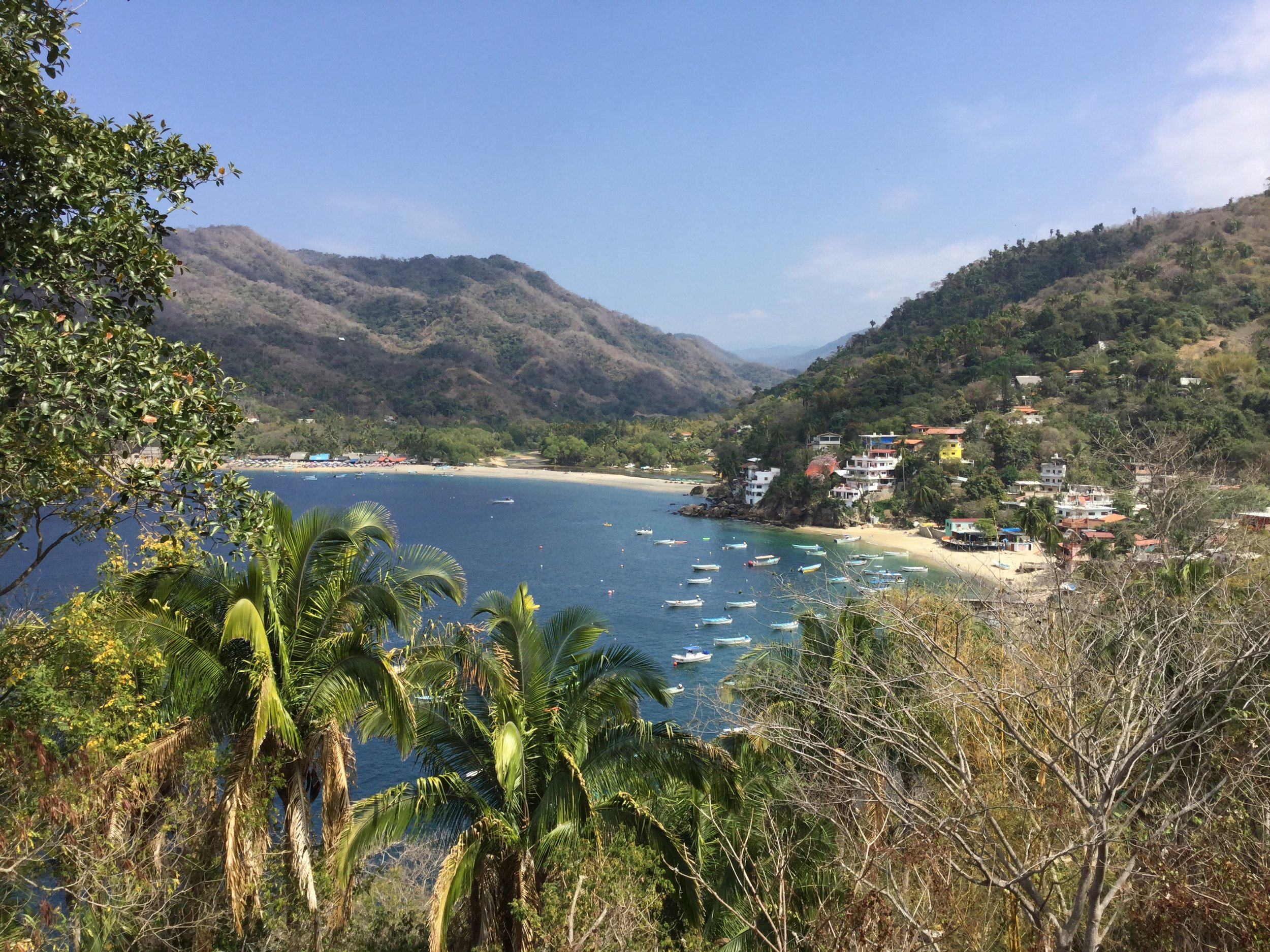 We visited Yelapa, a lovely bay only accessible by boat. Linda had been there over twenty years ago and wanted to see it again. This picture is from the patio of Casa La Loma, a family hotel half way up a hill. It was so beautiful.