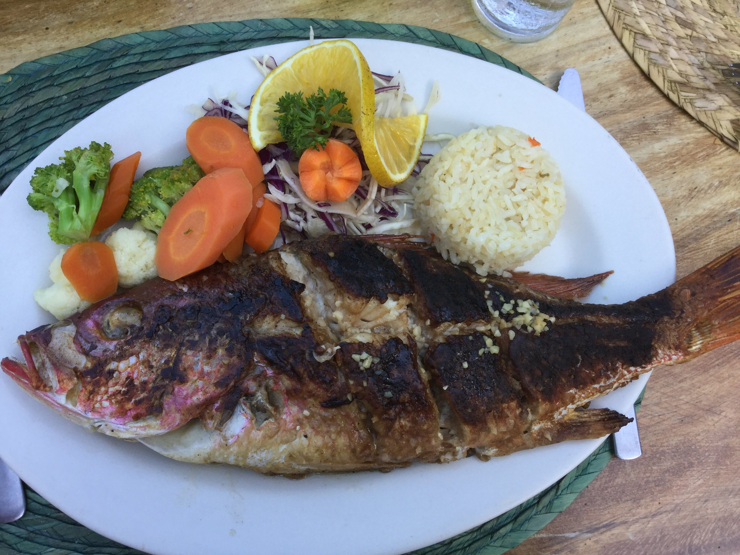 Lili had red snapper. We all had some of it in fact - and it was very tasty.