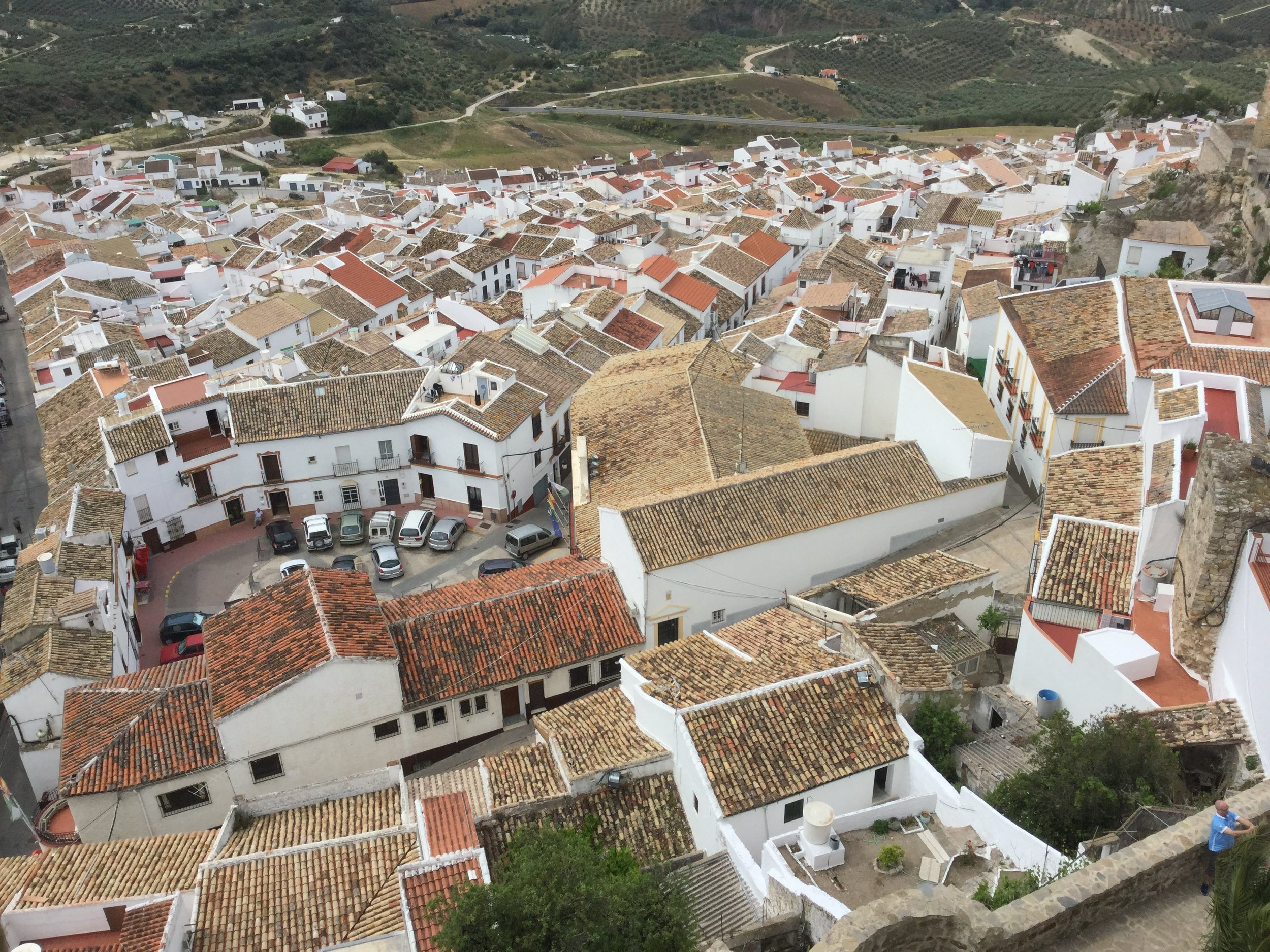 Looking down at all the roofs.