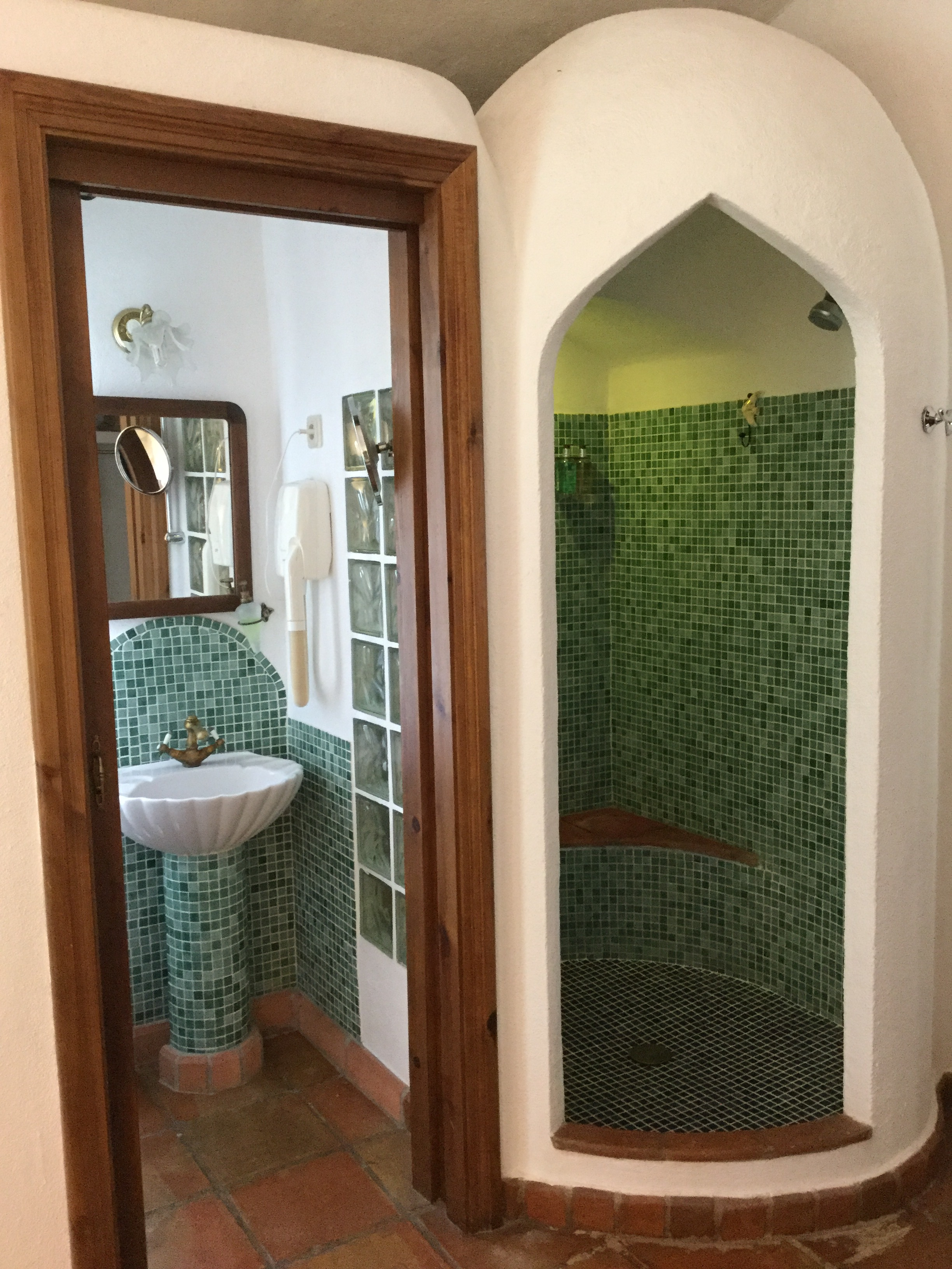 The bathrooms pay tribute to the Moorish heritage of the region.