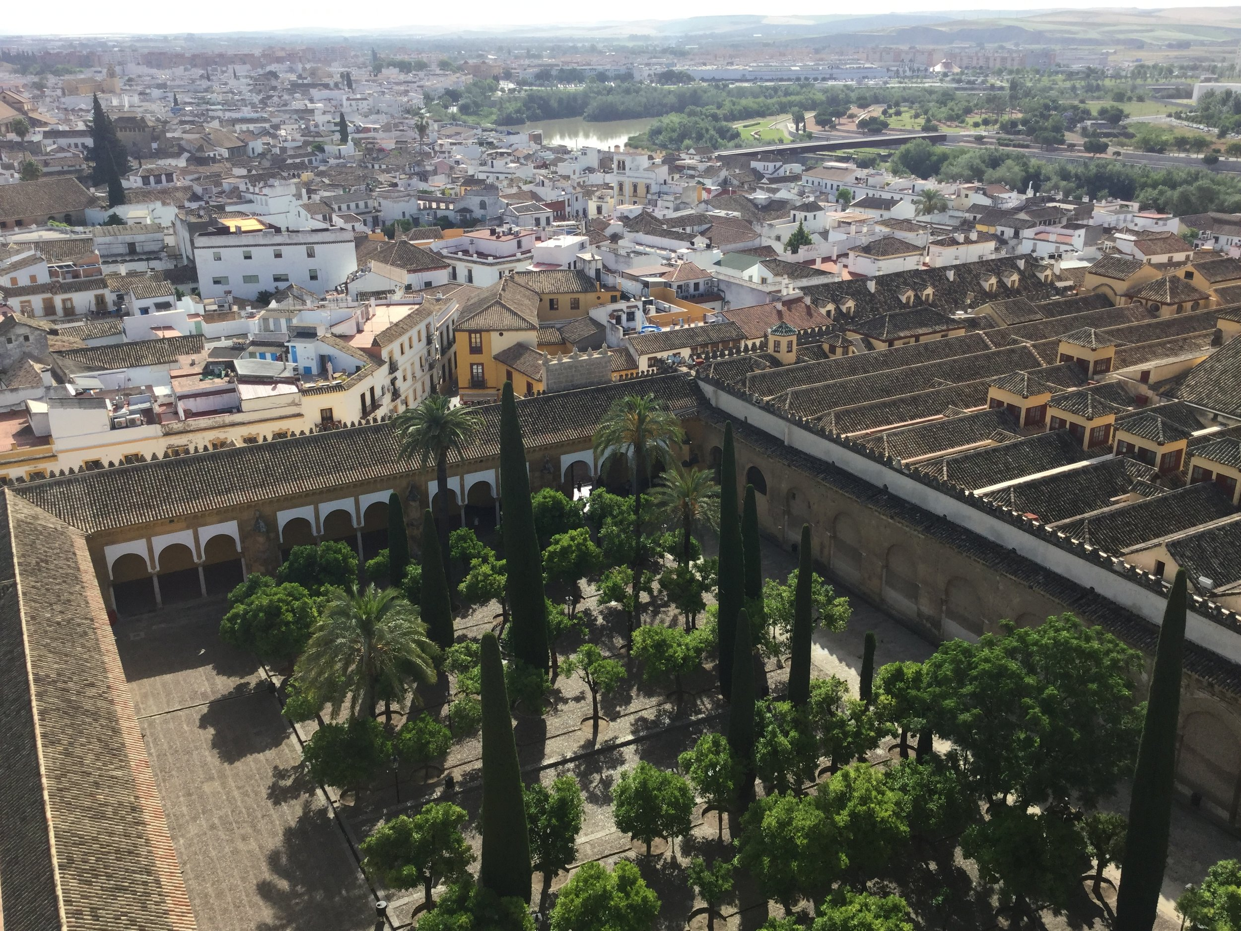 Here is the fabulous inner courtyard - Patio de los Naranjas - from above. Guadalquivir river in the background.
