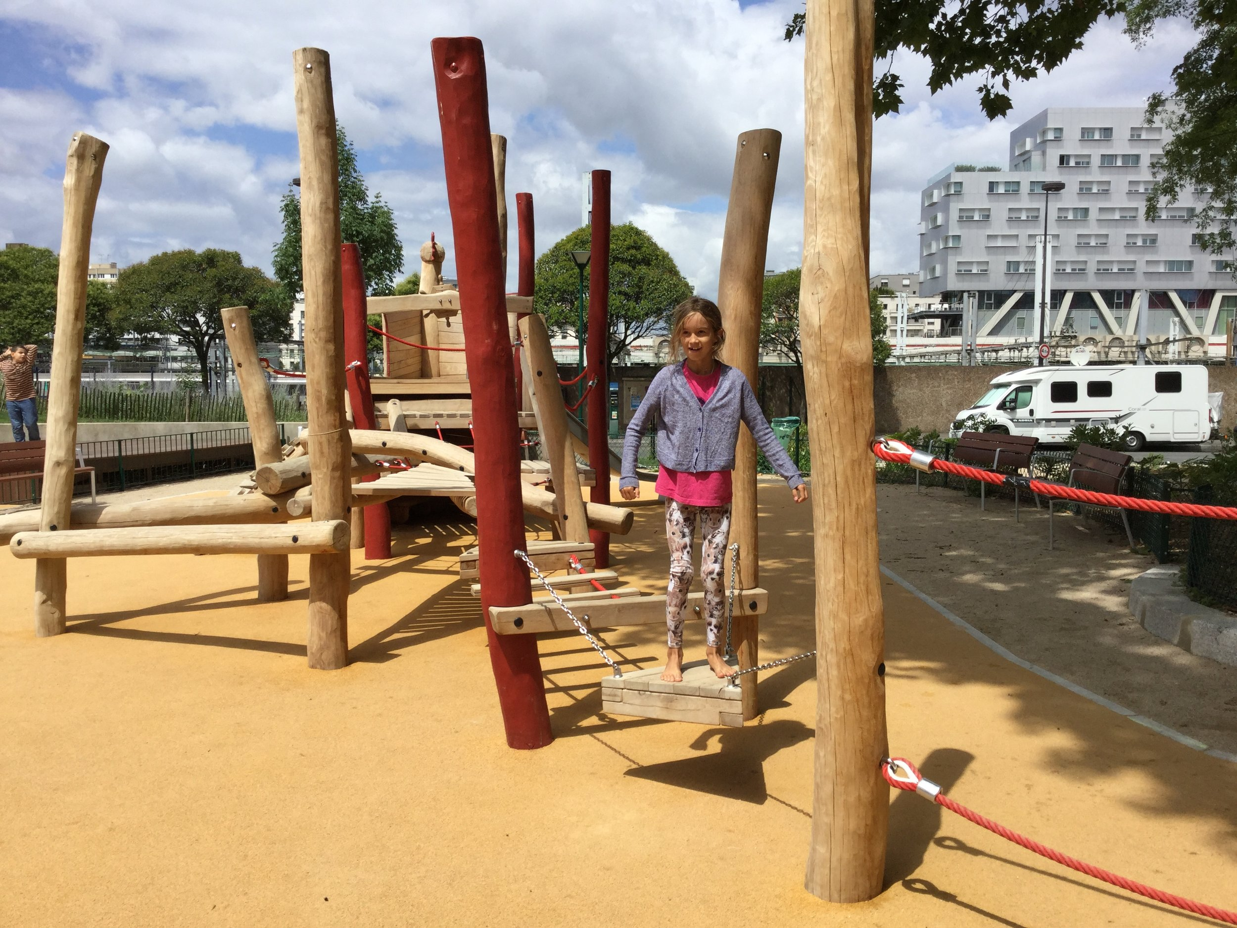 We even found a couple of playgrounds for Lili. This one had a cool 'wobbly platform' to balance on.