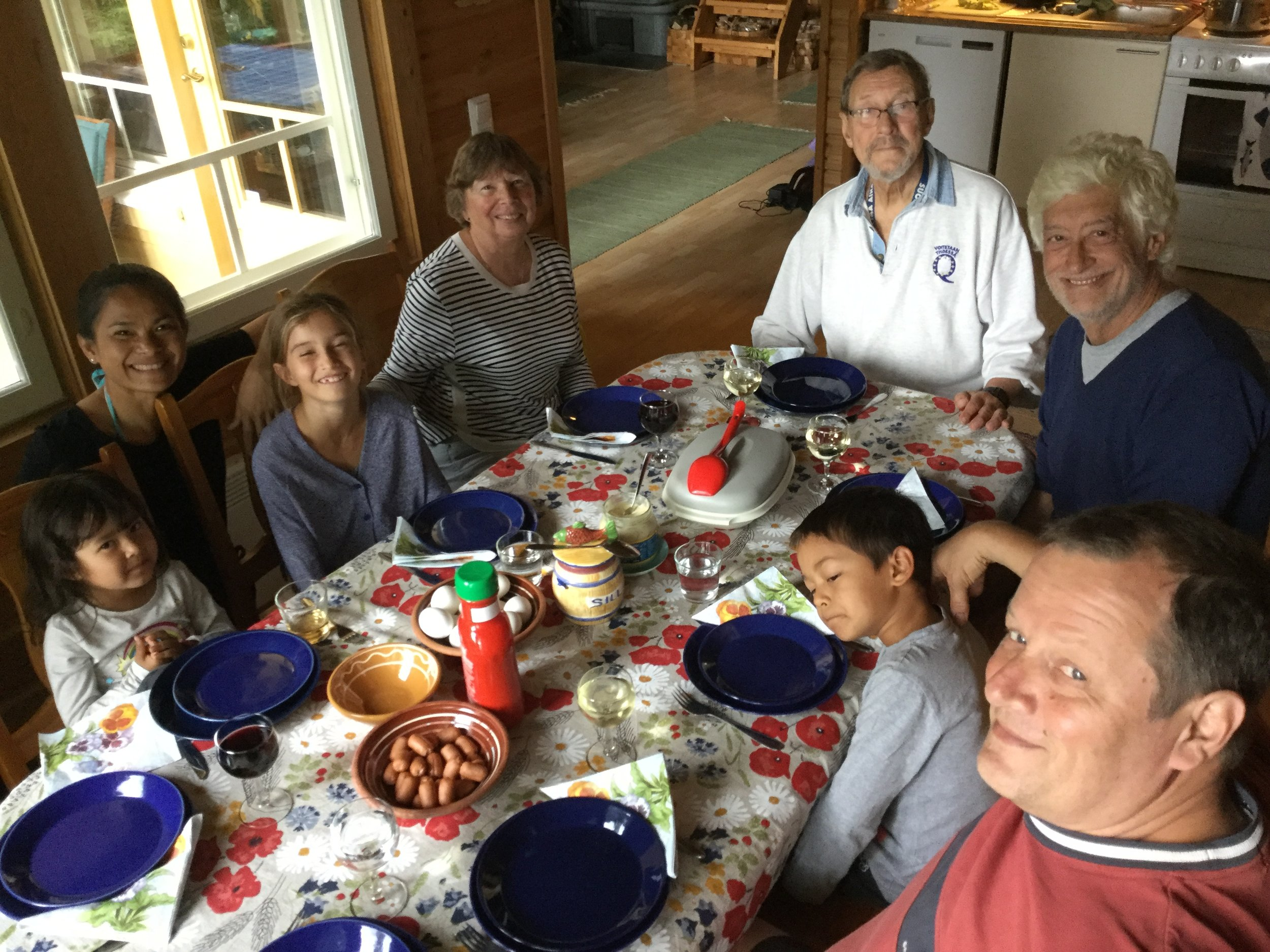 I actually took this picture of our Midsummer Day lunch about ten minutes too early - later on we had not one but two salmon on the table!