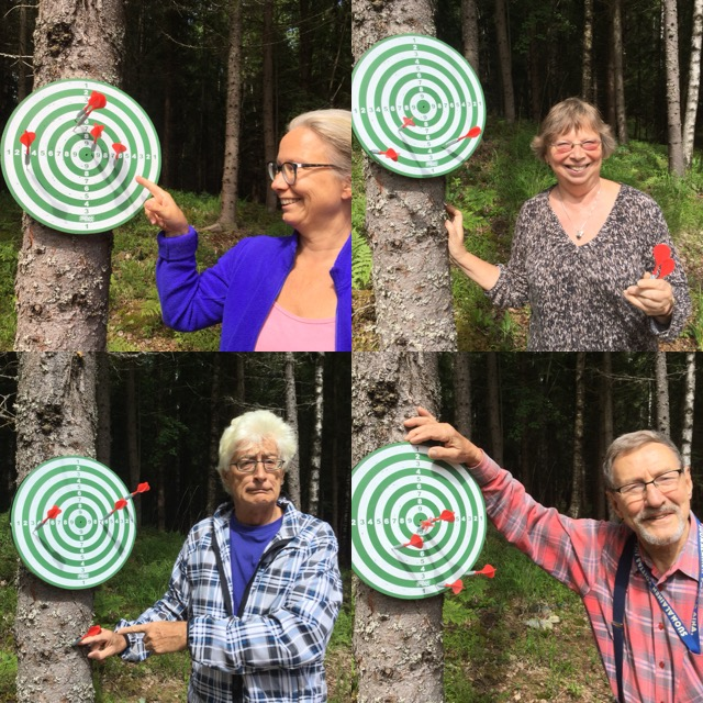 Lots of darts went in the forest, but when some hit the board we took a picture!