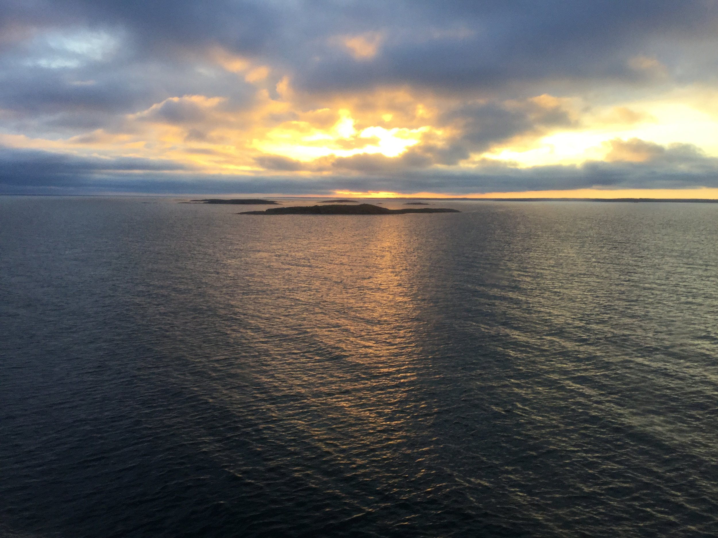 One of the many gorgeous views during the cruise. This was at around 10 pm, approaching Åland Islands.