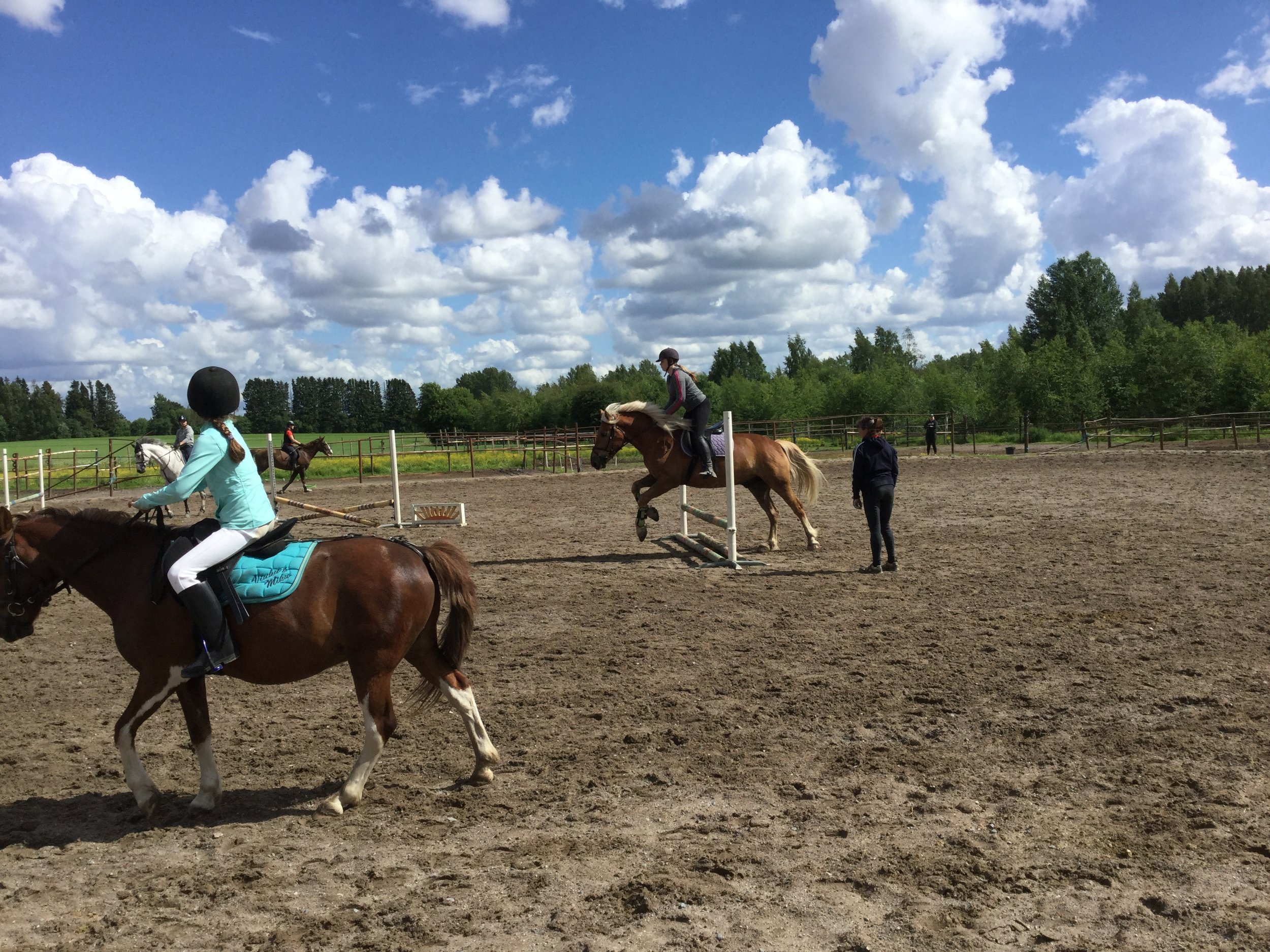 Lili at first jumping class (in white pants in the front).