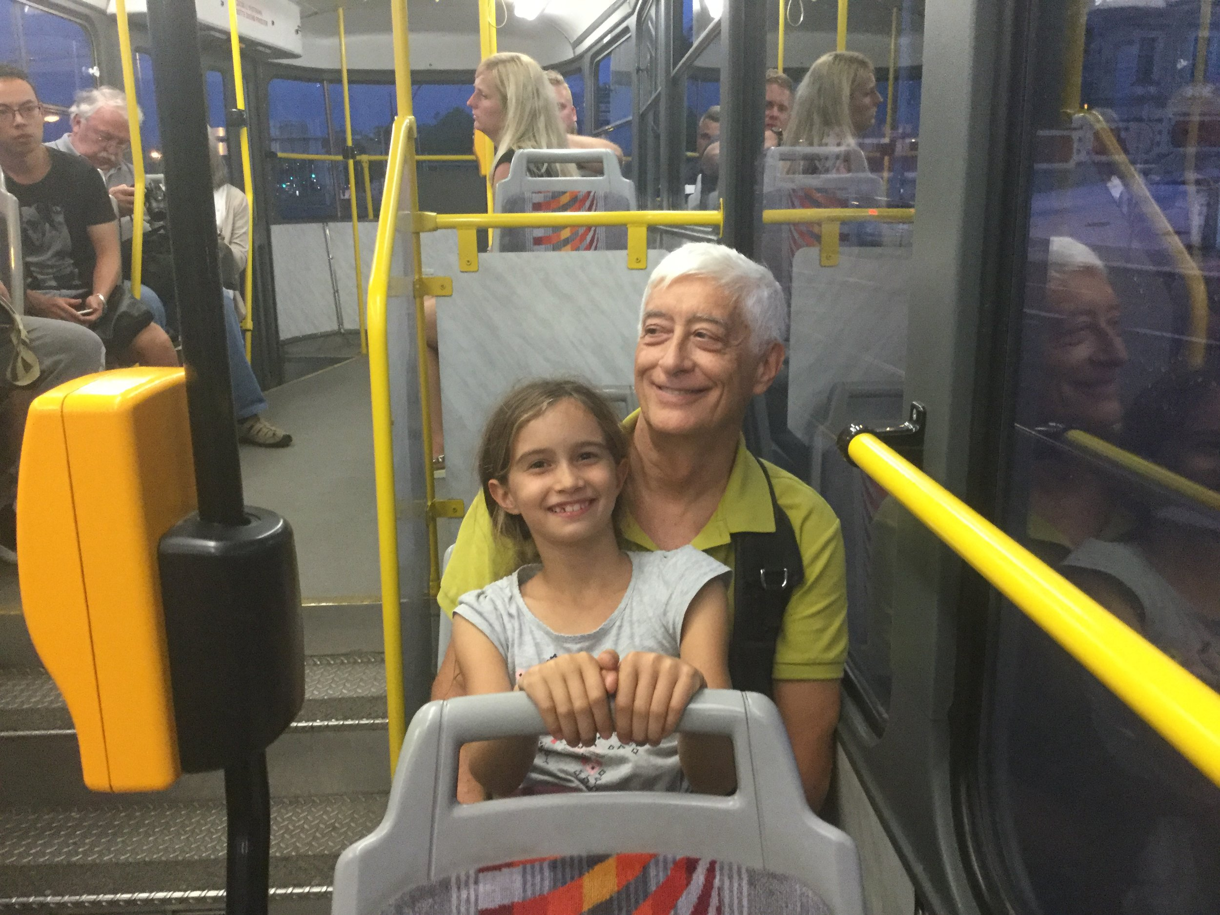 Goofing around on the tram.