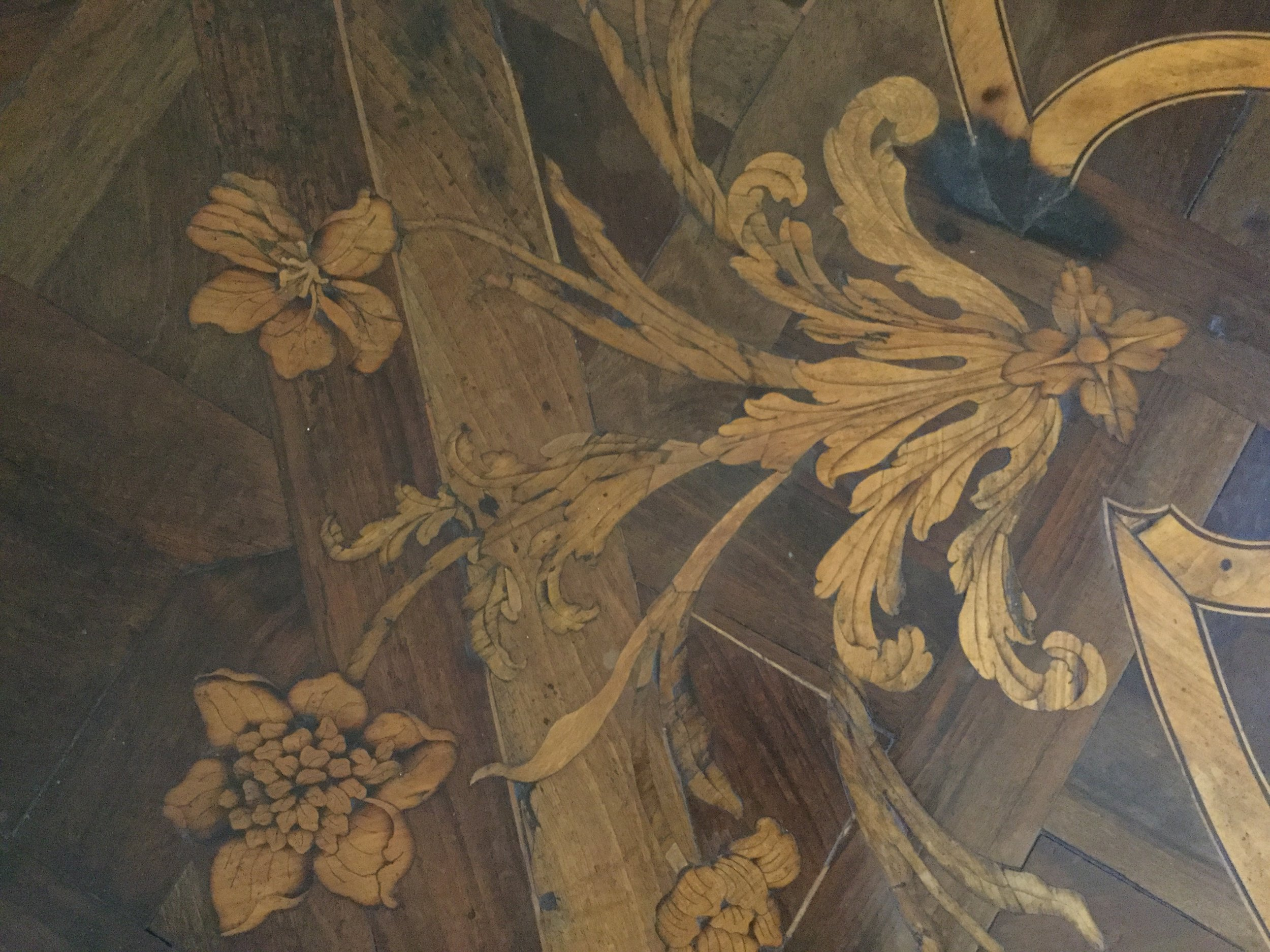 Some of the most beautiful wood inlays in the floor.