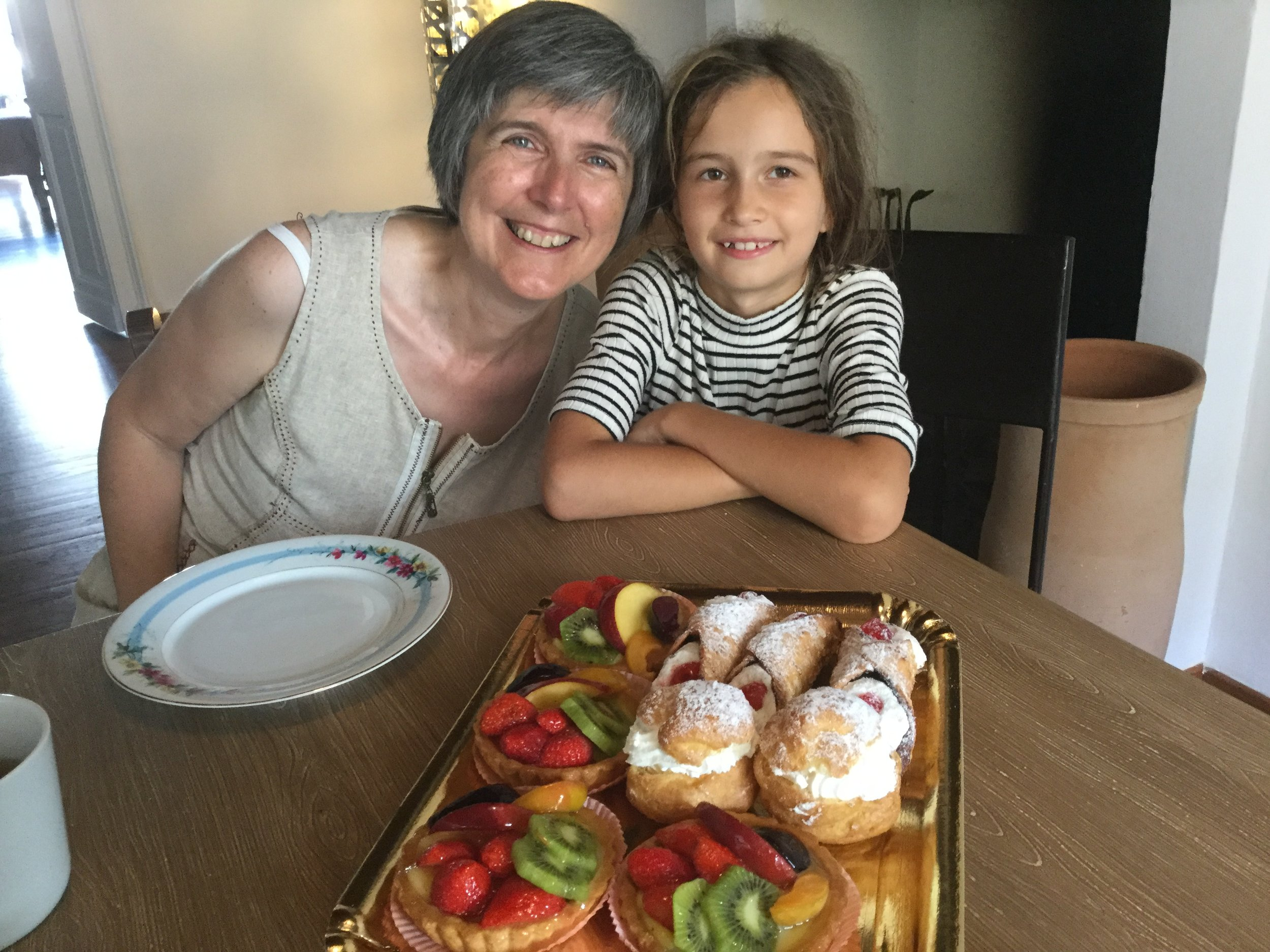 Simonetta with Lili. Did I mention that pastries in Torino are to die for?