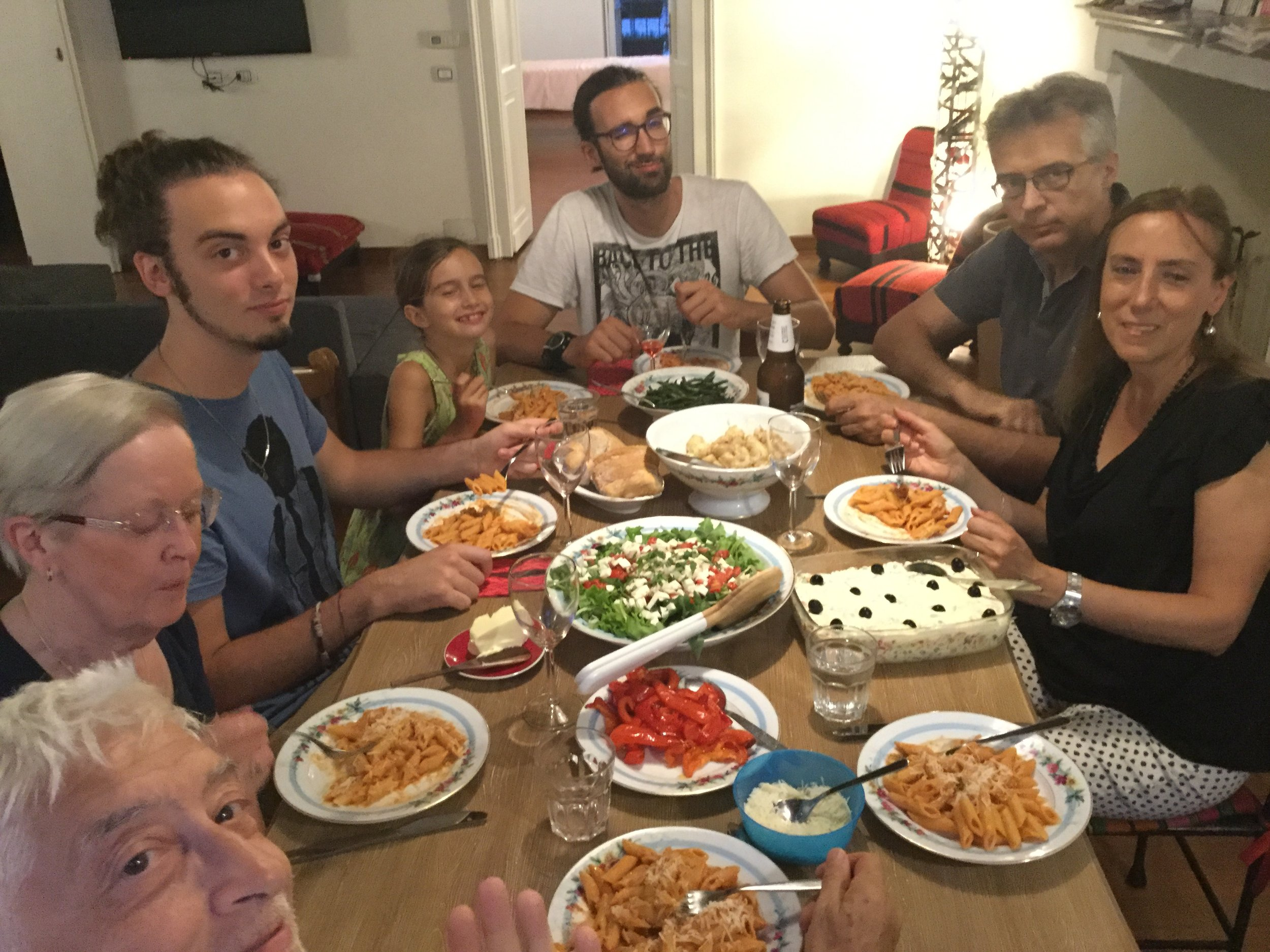 An earlier pasta dinner at our place: Dante, Eeva, Giuliano, Lili, Amedeo, Manuel, Lidia.