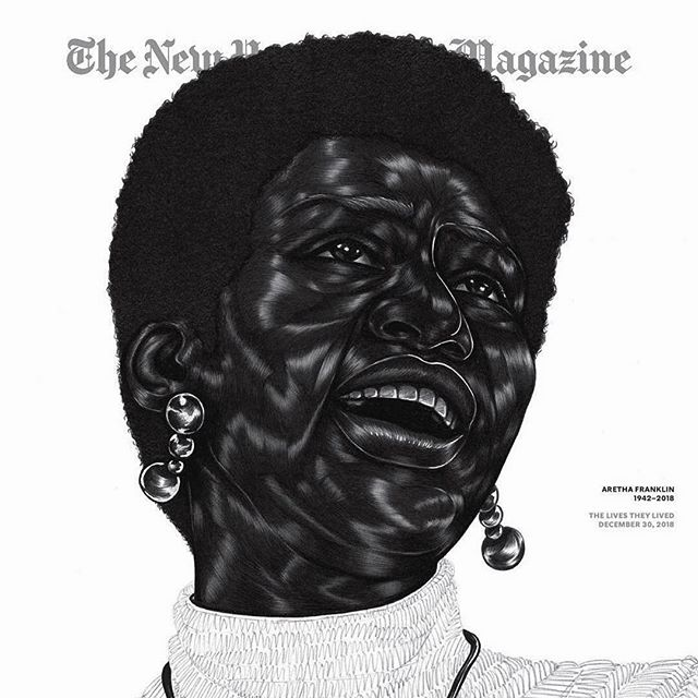 Breathtakingly Amazing. #artnoir  #Repost @joeonna 🖤 @nytmag ✨ The cover of @nytmag this week features a portrait of Aretha Franklin, who passed away earlier this year, by artist (sic: 👸🏿) @toyinojihodutola. ''It's all in ballpoint pen,'' Ojih Odutola says. ''There were moments while I was mapping out the drawing when I thought she should be gestured more in repose or simply more contemplative and reserved, but then I realized that wasn't the aim of the portrait. When you think of her, you think of this unabashedly free voice. She really went for the things she wanted, artistically and personally — and very much a black woman in all of that. Her black womanhood informed and inspired her process and was the catalyst for so many explorations in the world she created for herself.''