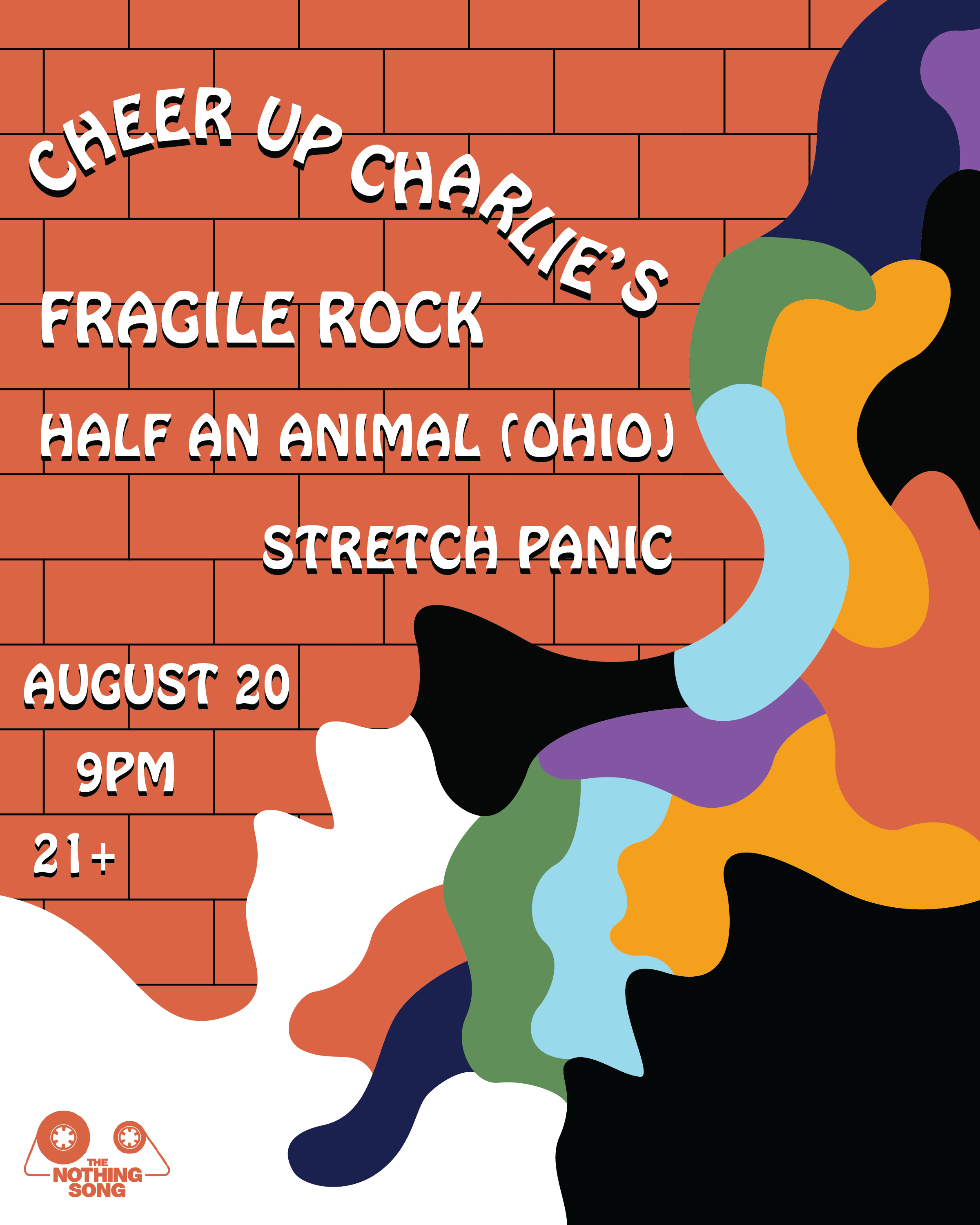 August 20th, Austin, TX - gig poster for Cheer Up Charlie's