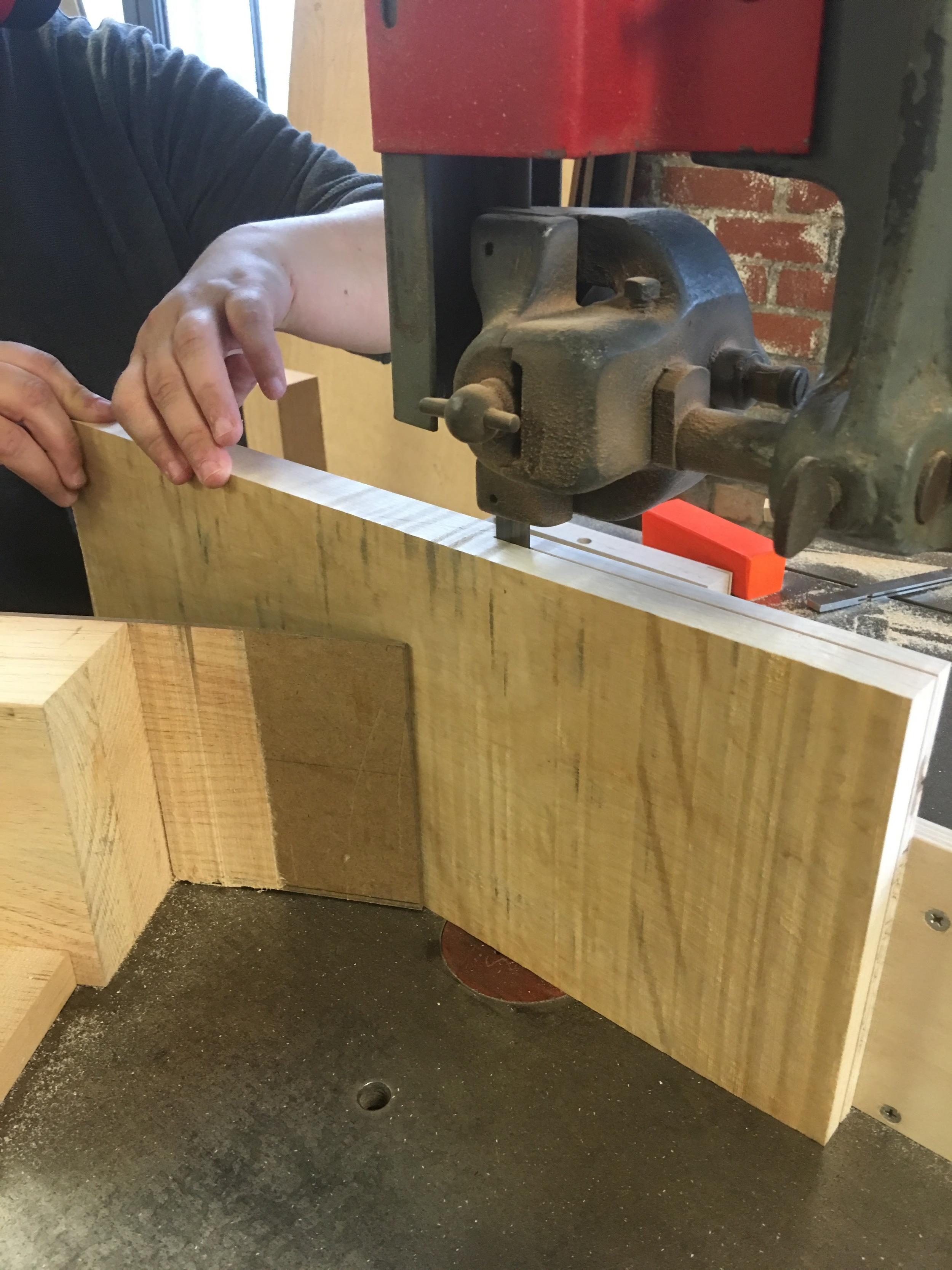 "Resawing on the 36"" Oliver bandsaw"
