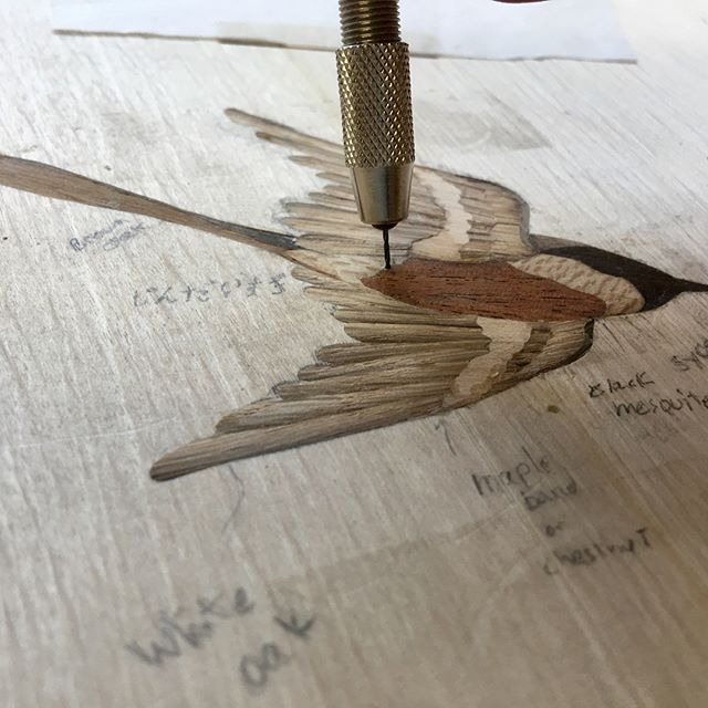 Despite the drill, no birds were harmed #marquetry