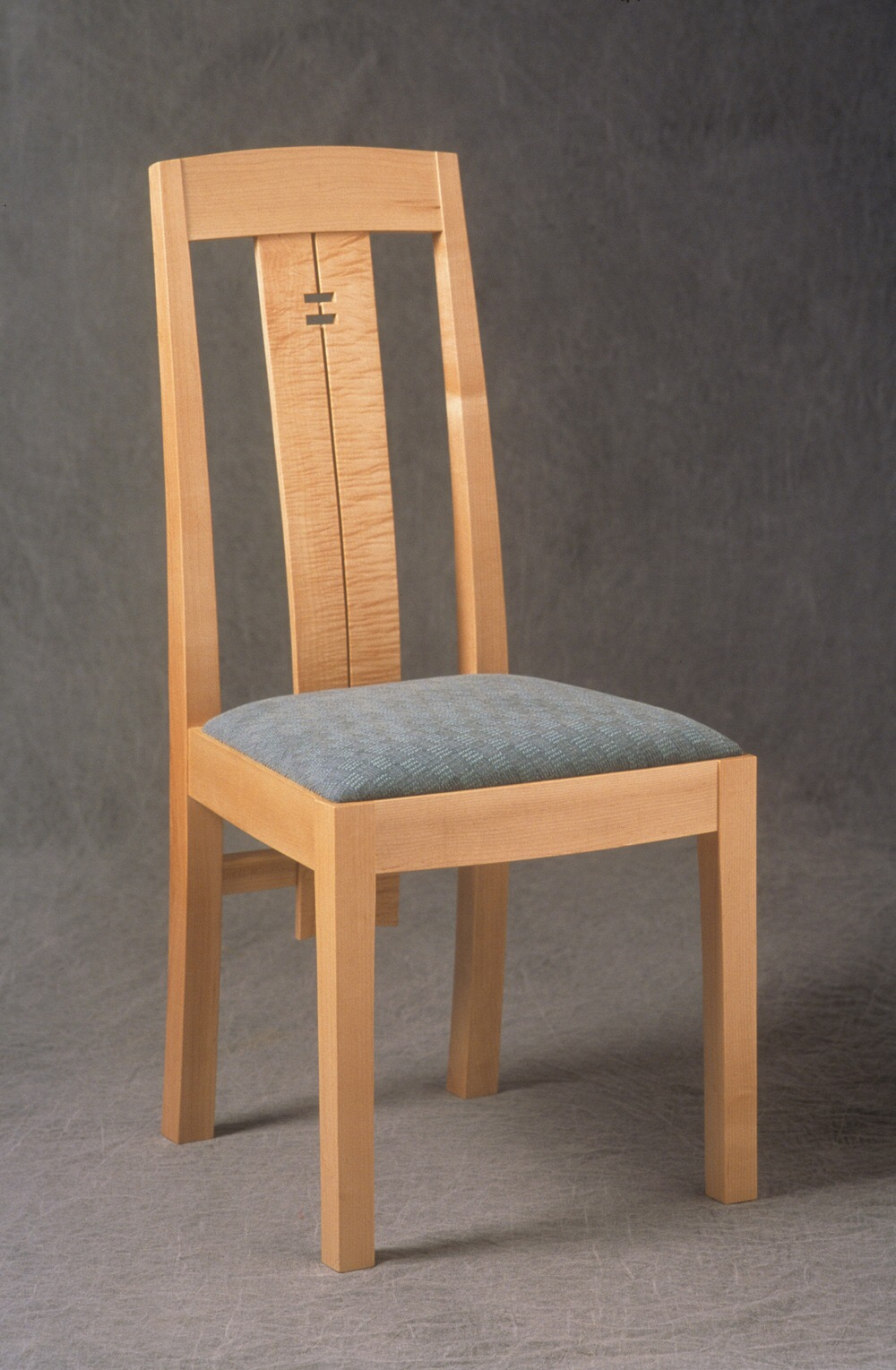 Maple dining chair with bent laminations, upholstery