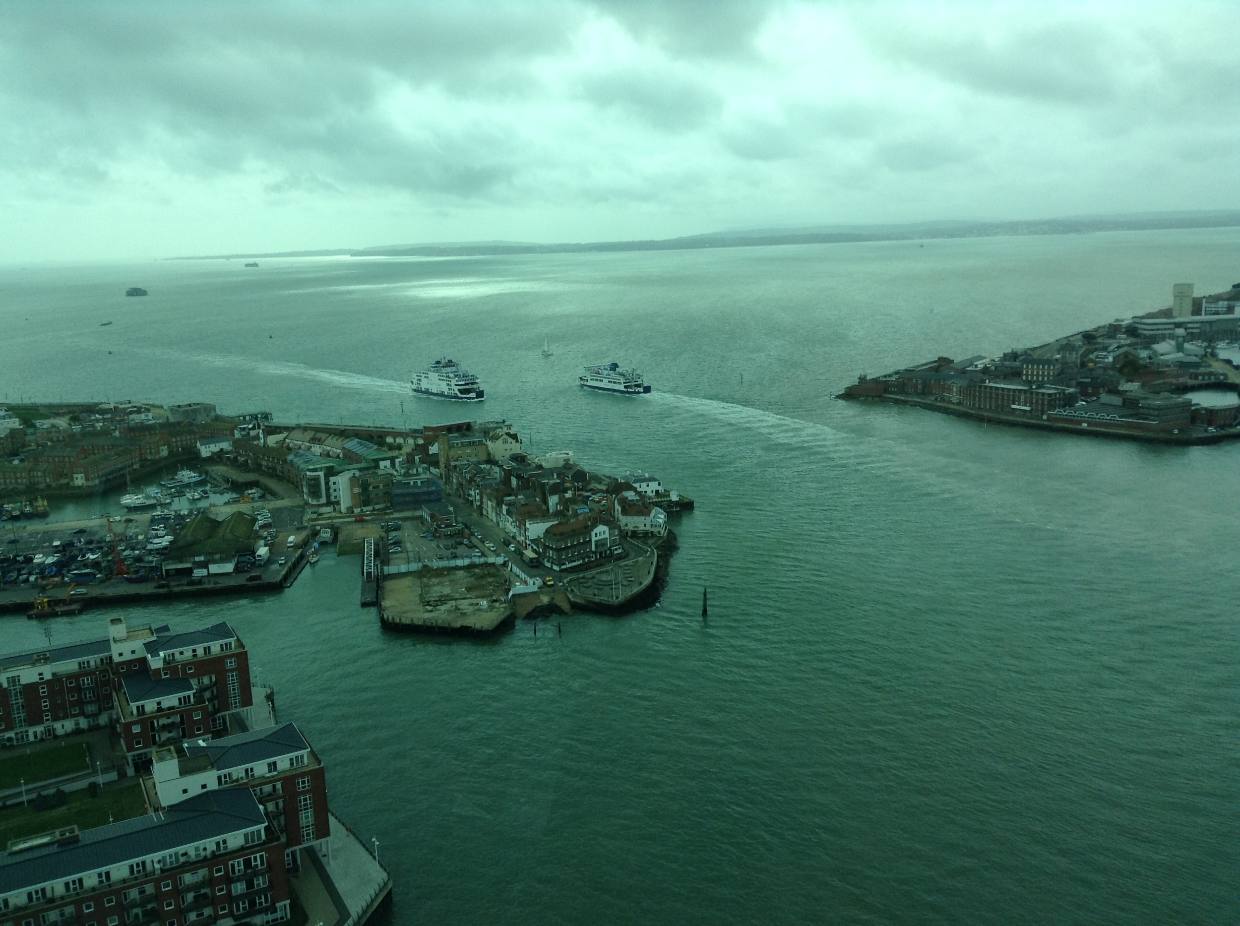 View from Spinnaker Tower with Isle of Wight in the distance