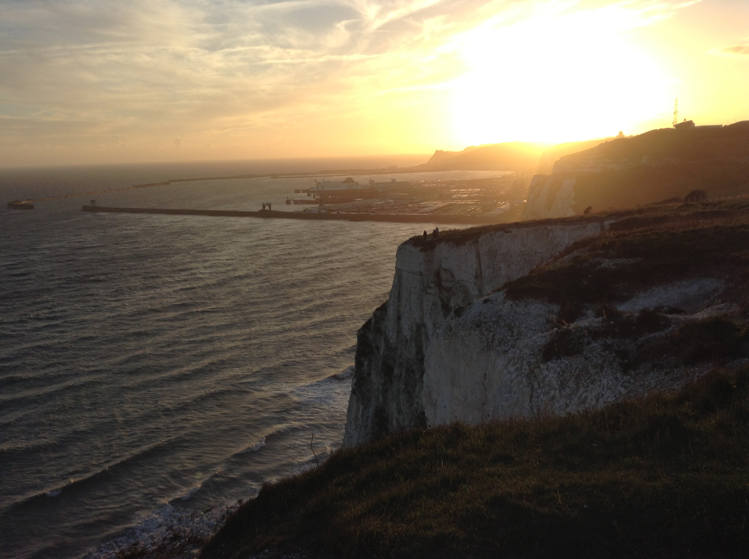 White Cliffs of Dover with Port of Dover in the background