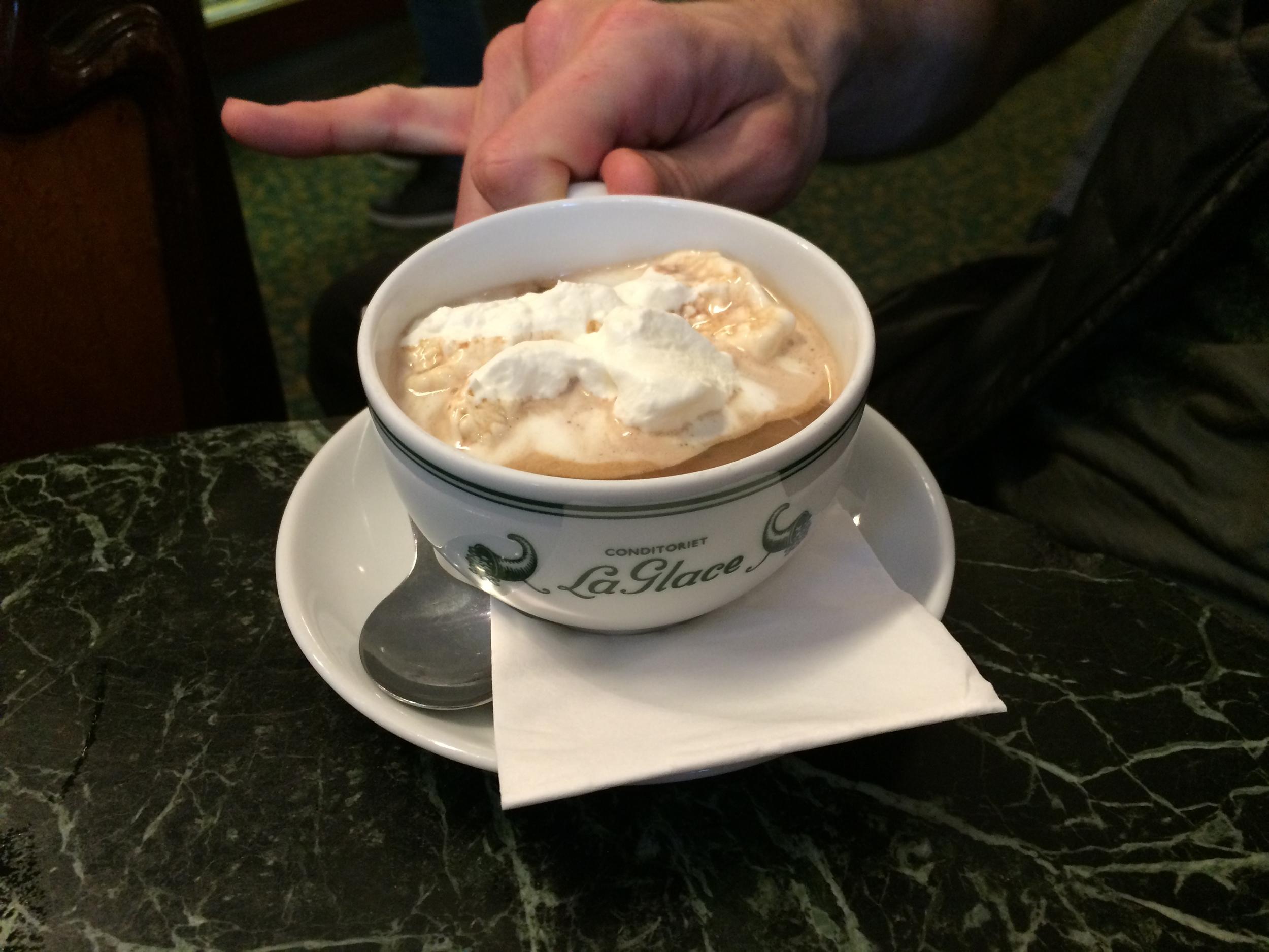 'Civilized' hot chocolate at La Glace in Copenhagen