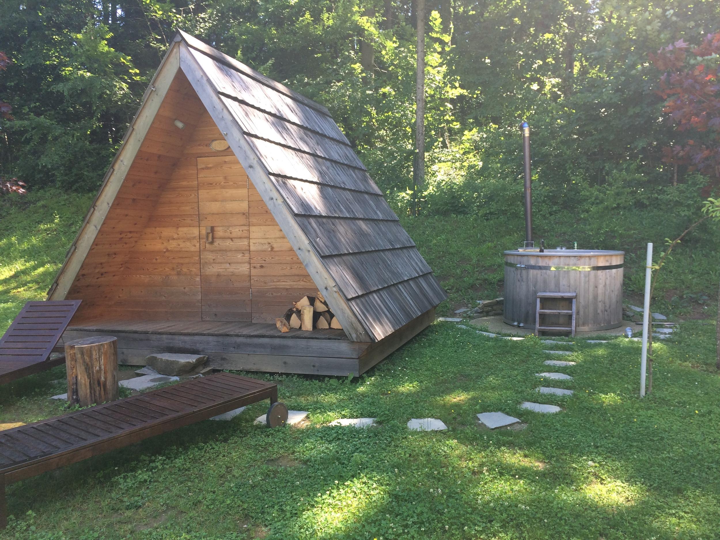 Glamping hut and hot tub at Camping Bled, Lake Bled, Slovenia