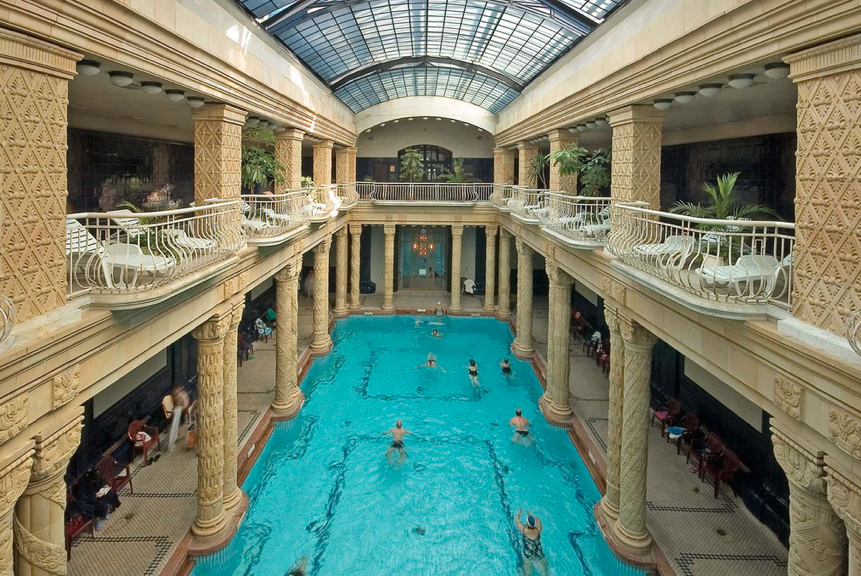 Indoor lap pool at the Gellert Spa & Thermal Baths
