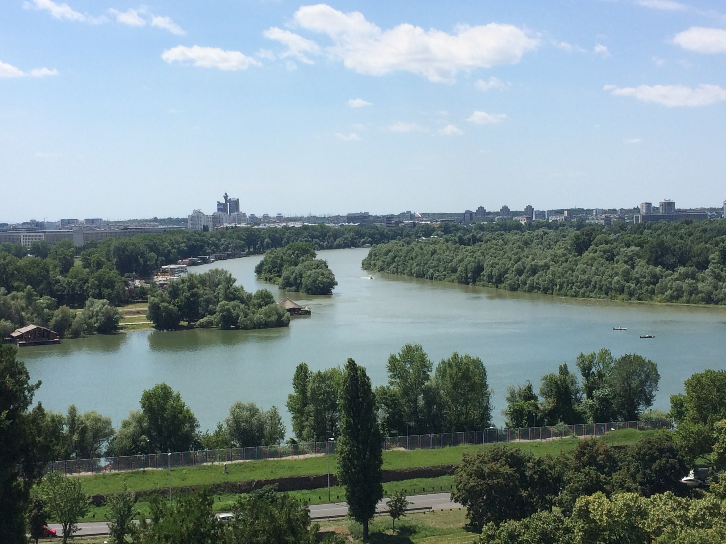 The confluence of the rivers Sava and Danube.