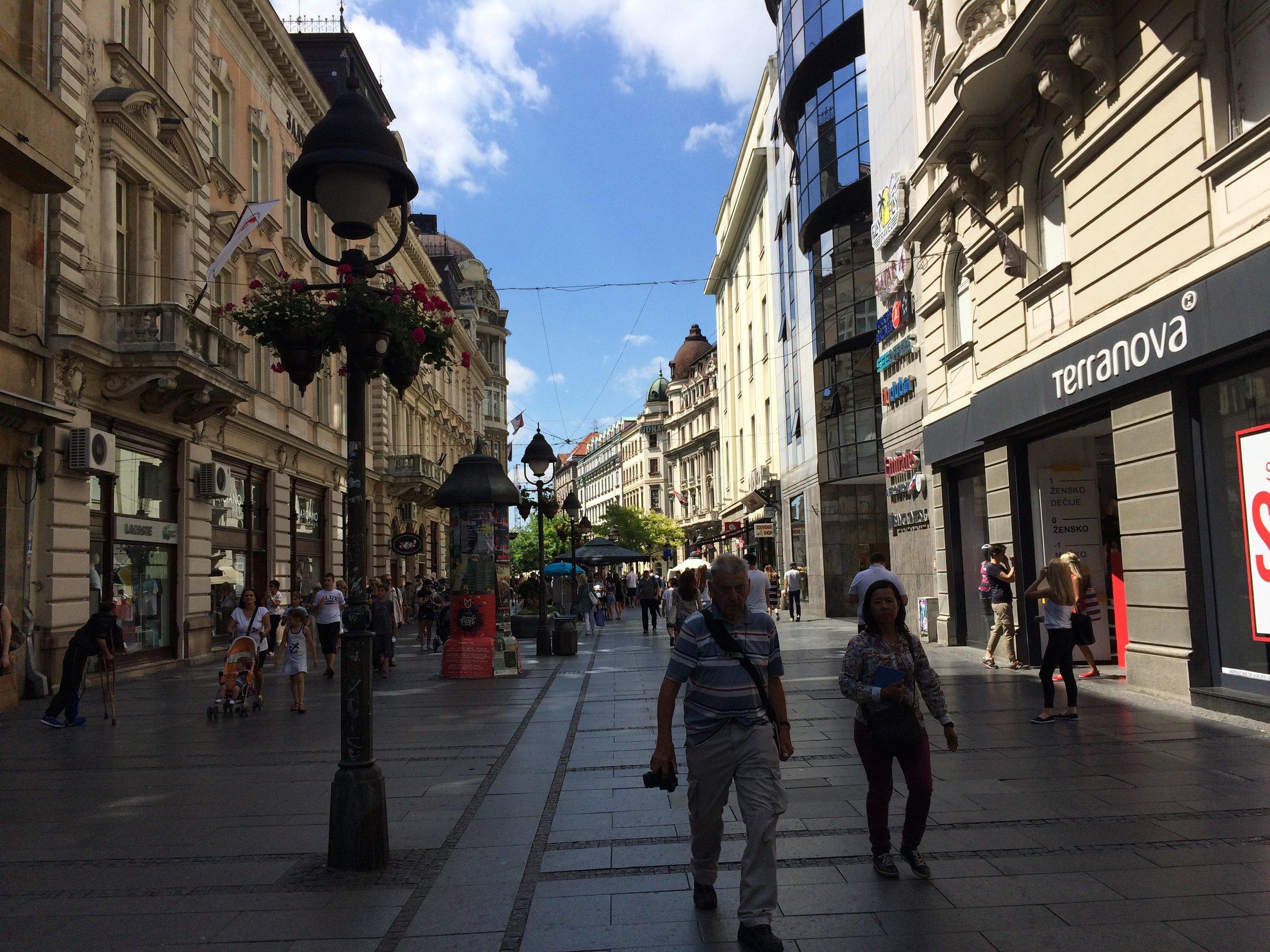 Pedestrian street, Knez Mihalova with Austrian era architecture