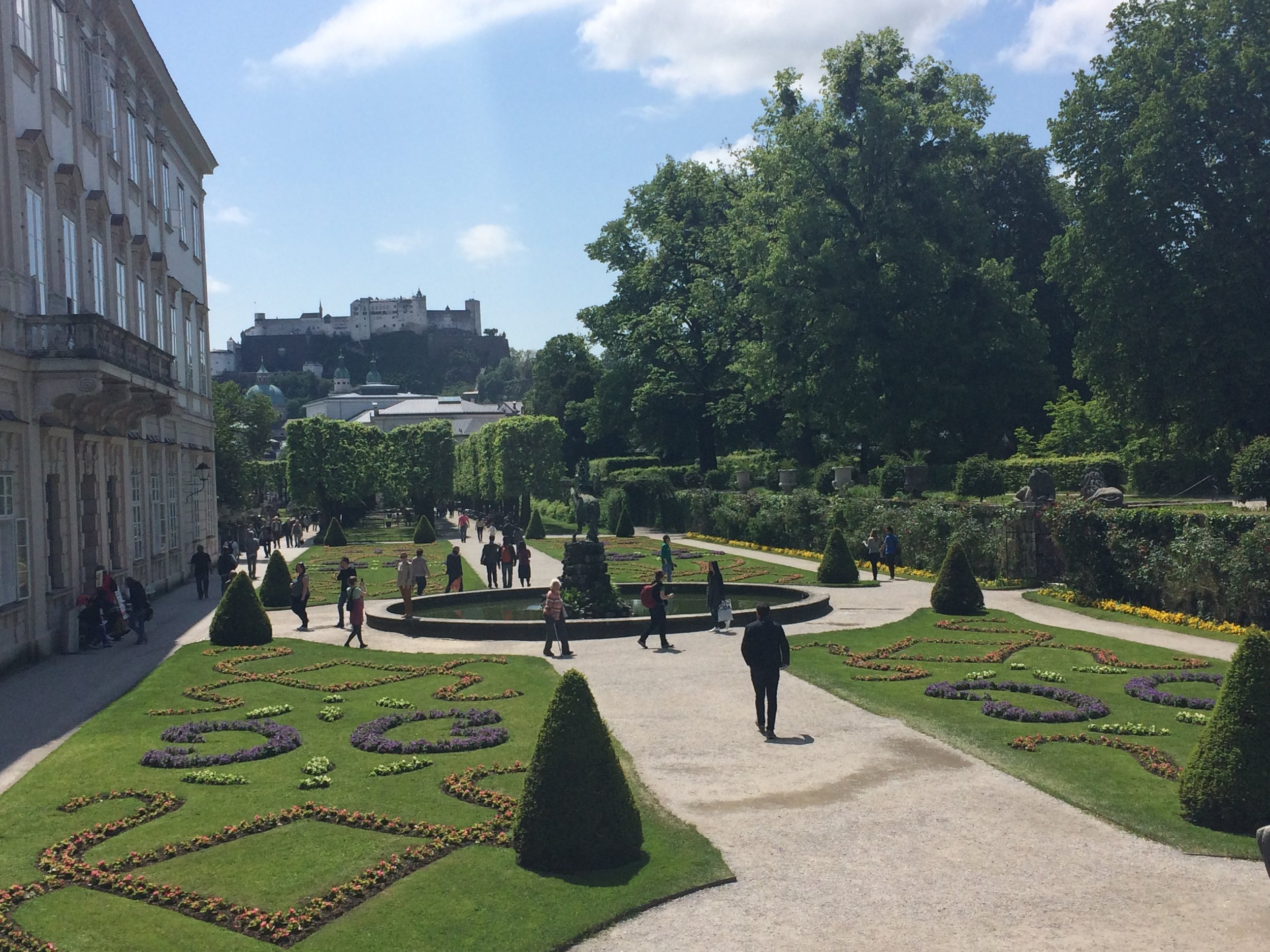 Mirabell Gardens (where many of the  Do Re Mi  scenes were filmed in the Sound of Music) with Salzburg Fortress in the background