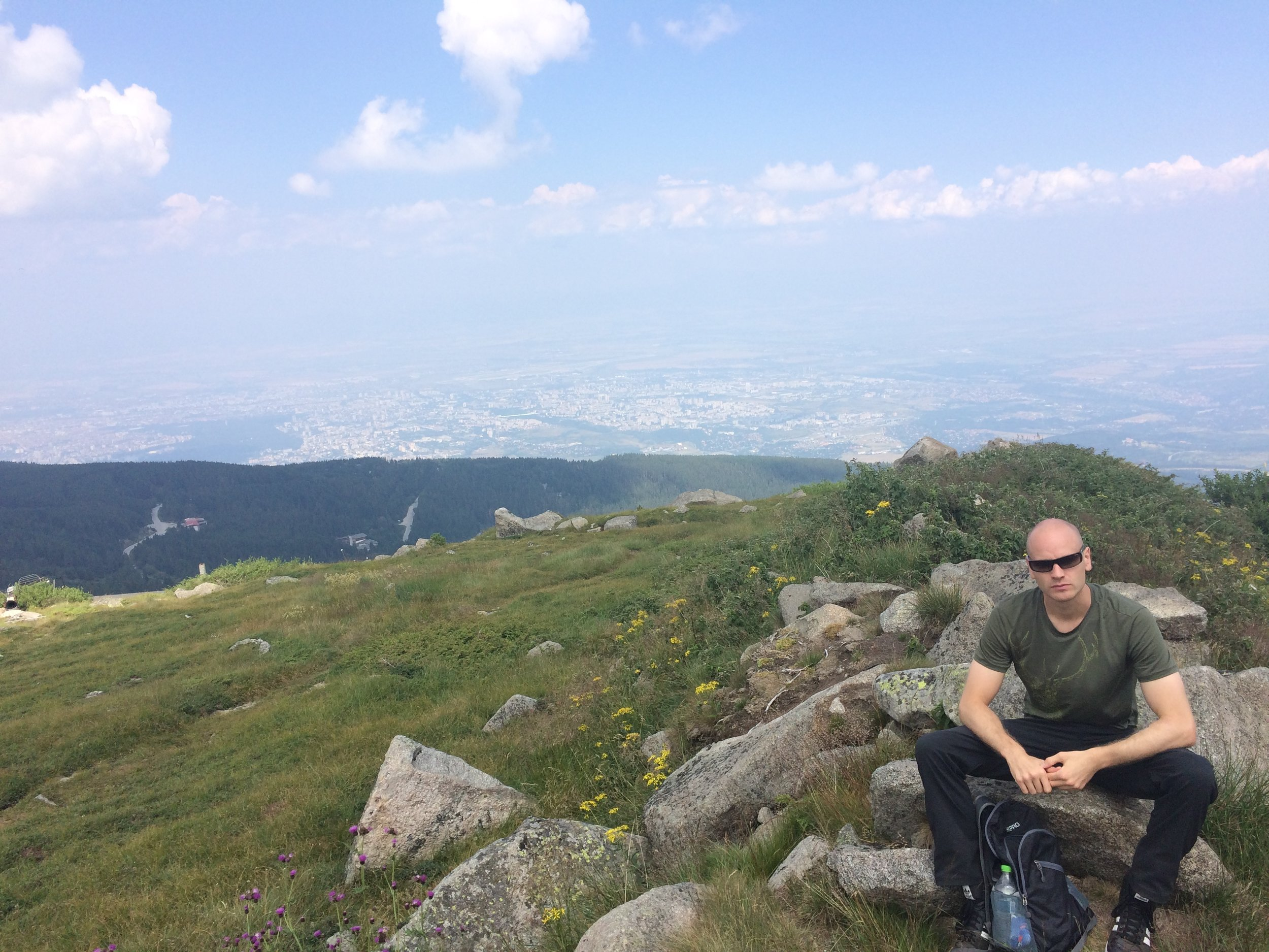 Summit of Mt. Vitosha with Sofia in the background