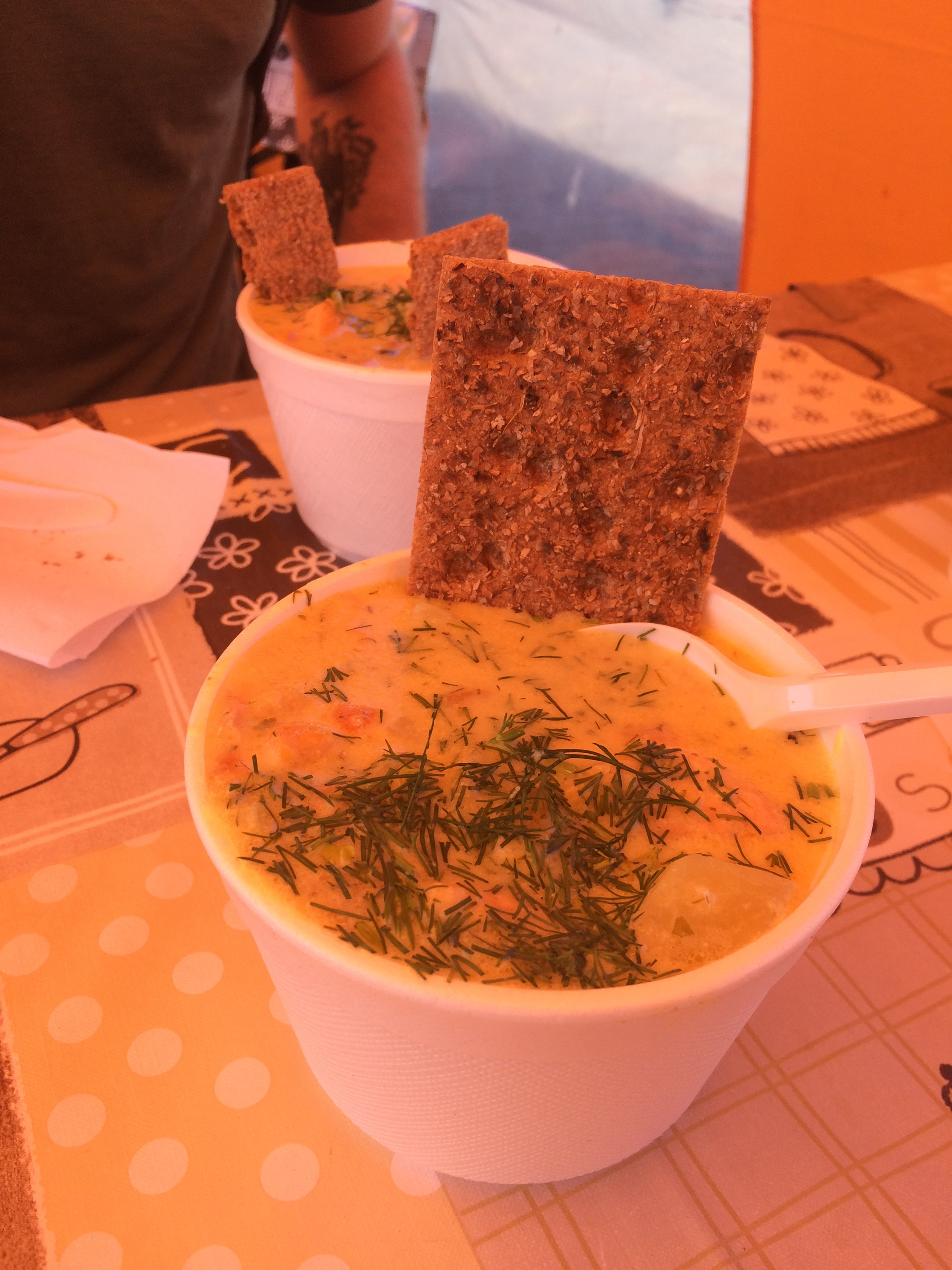 Salmon soup, Helsinki style