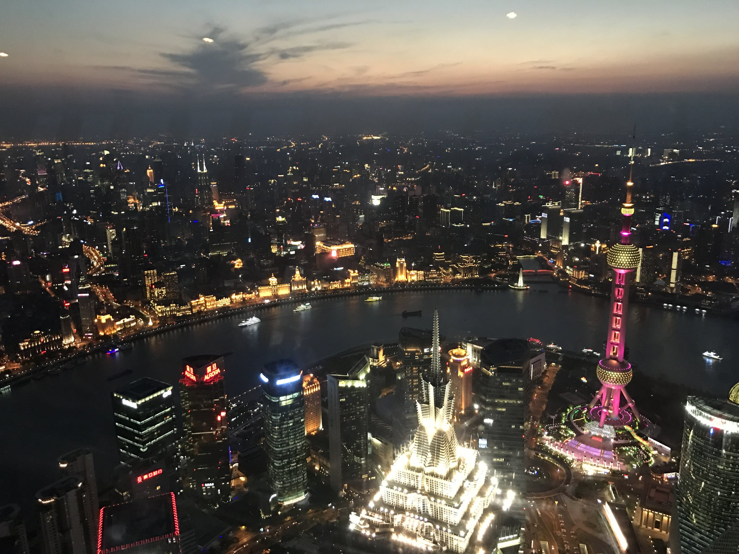 At the top of Shanghai World Financial Center