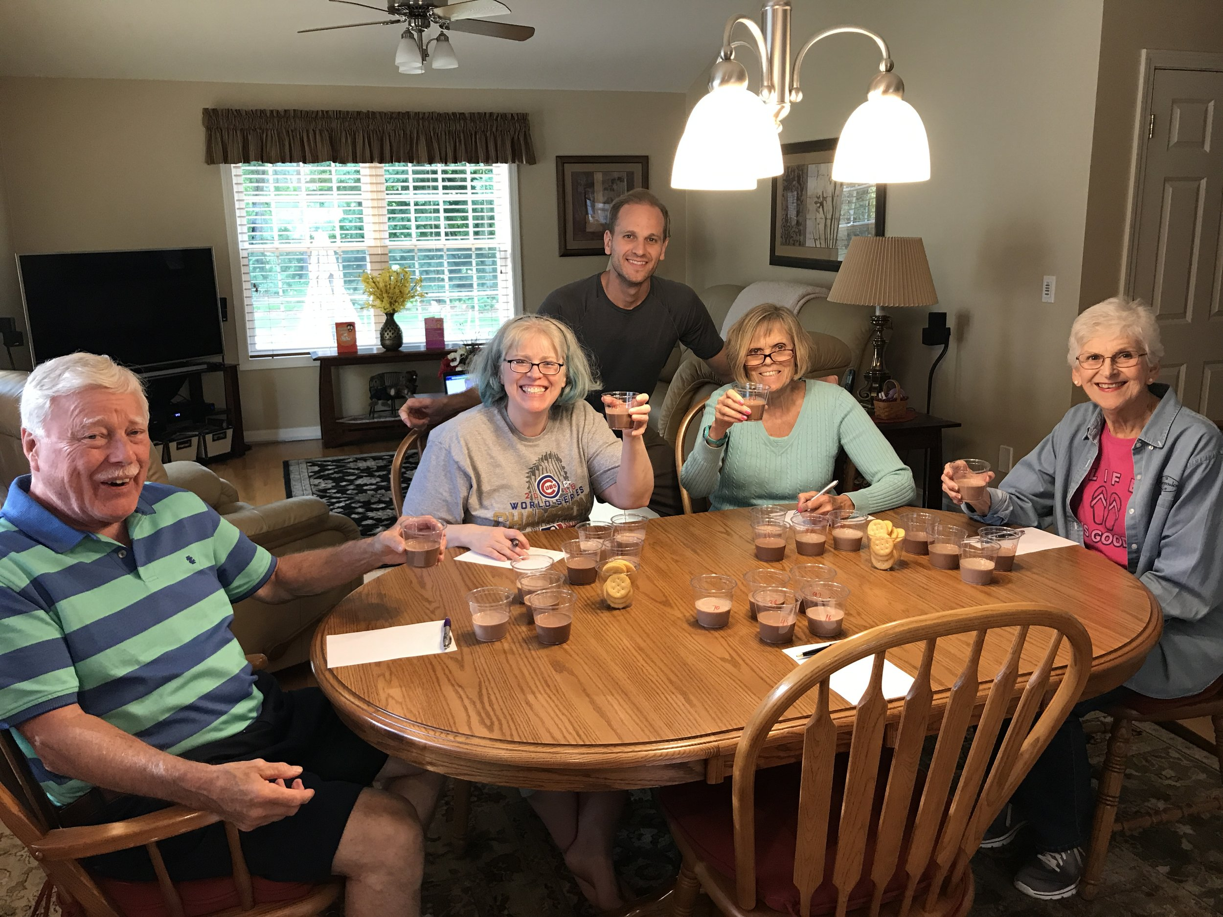 Chocolate milk taste test with Perry's relatives in New Hampshire.
