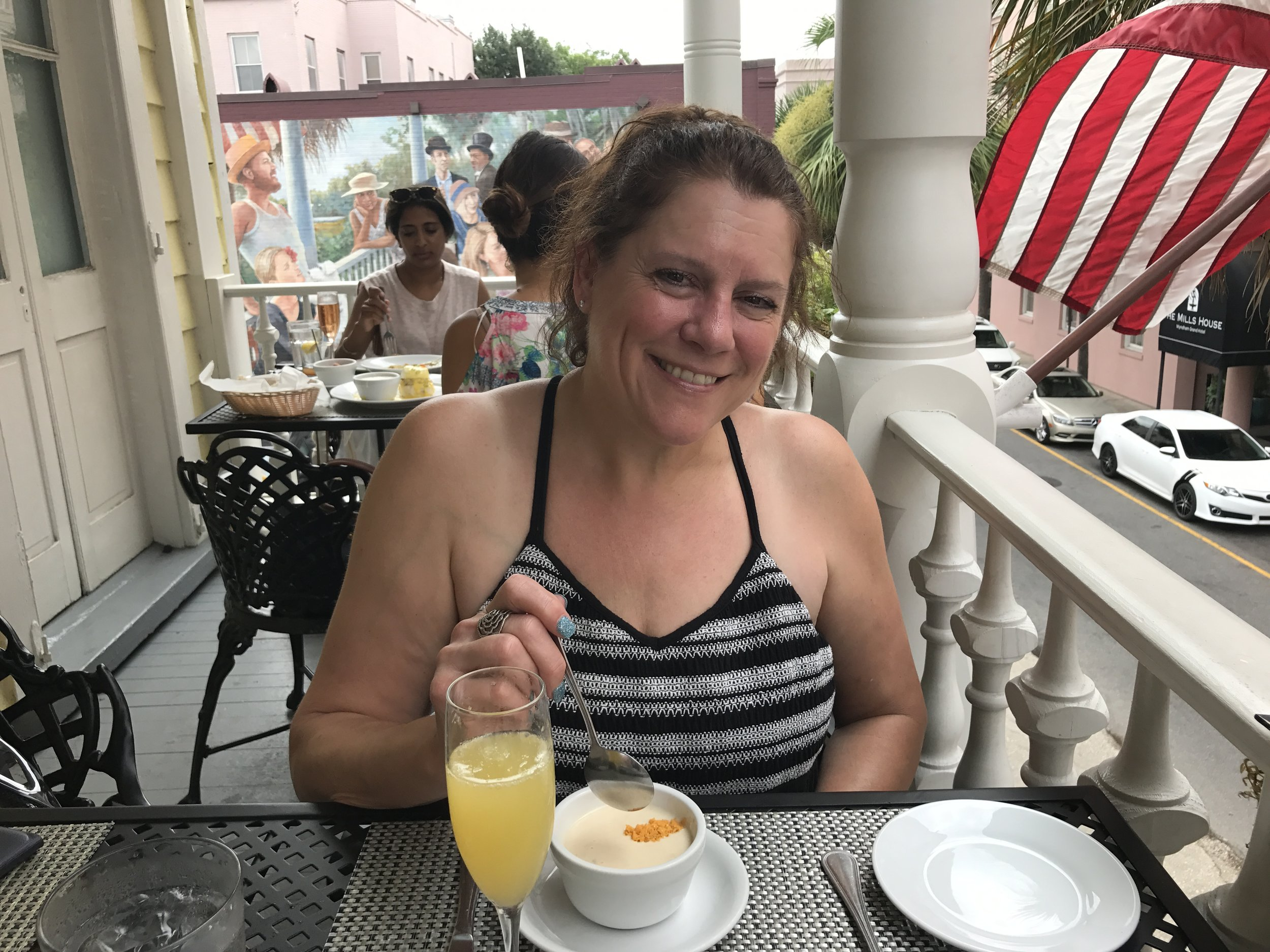 Charleston specialty, She Crab soup and a mimosa.
