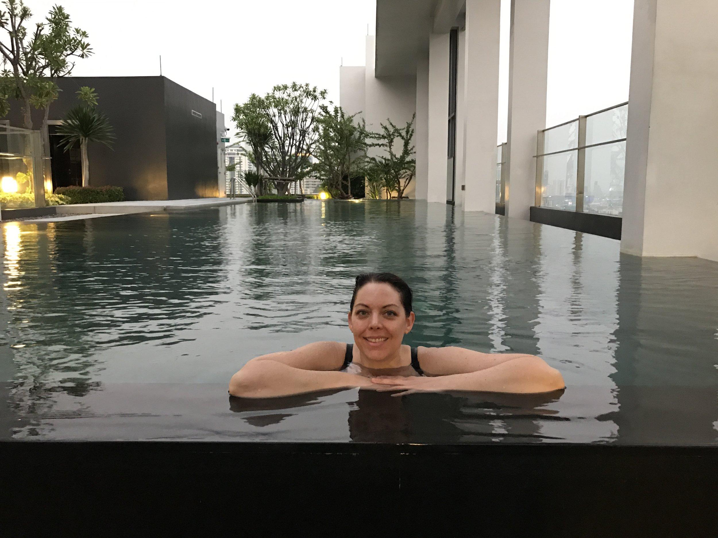 Rooftop pool at an Airbnb in Bangkok, Thailand