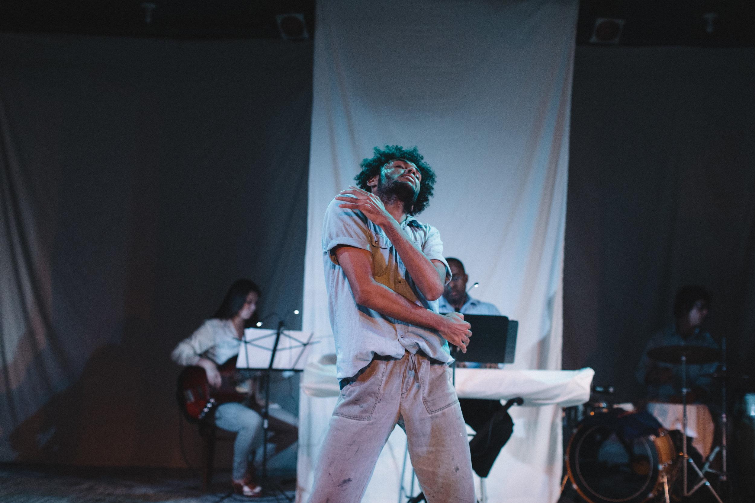 "Pictured : Jaavan Martin in BATCO's production of ""I, Too, Sing America"" @ Brava Theatre Feb 14 - 24; photo: Lorenz Angelo Gonzales"