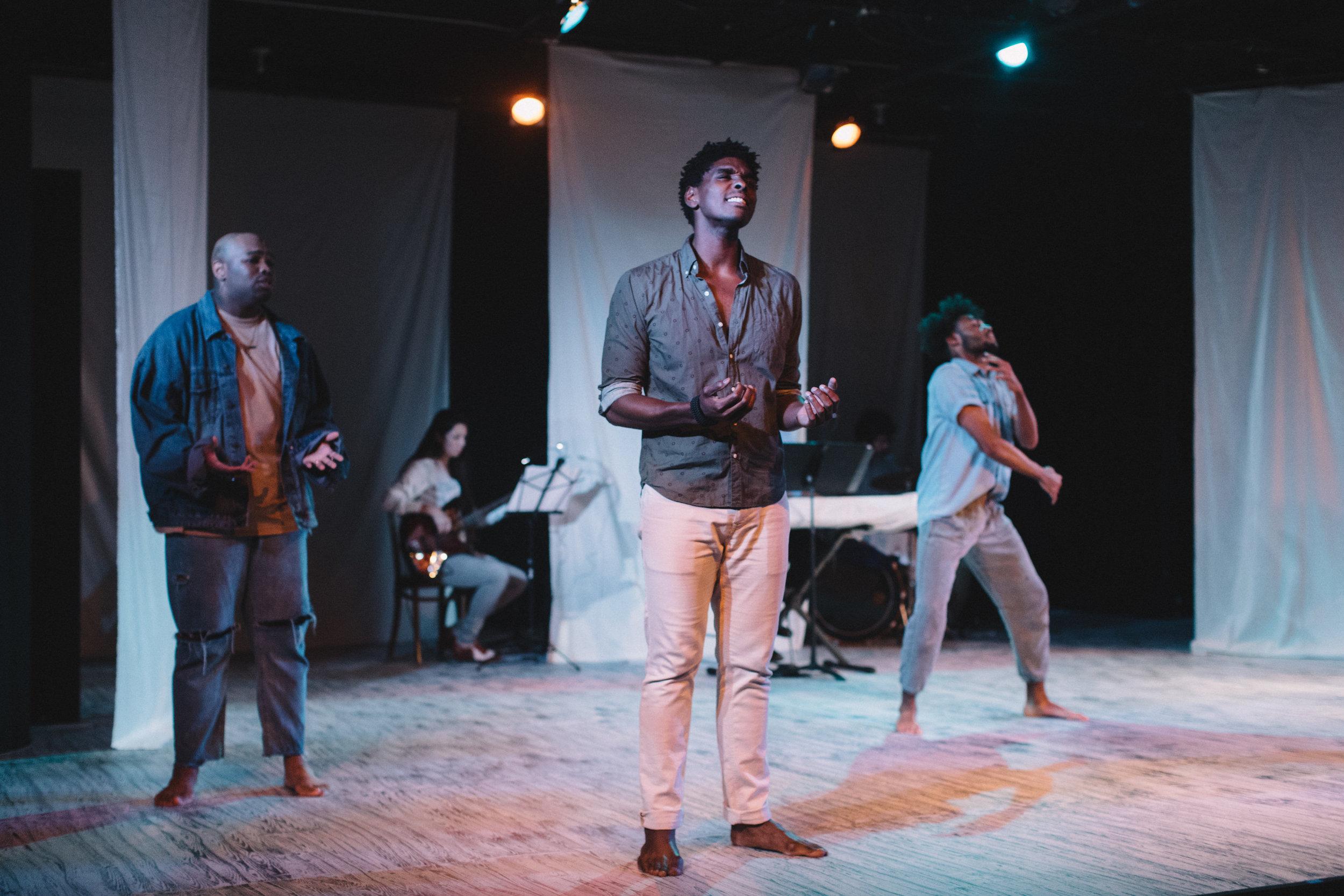 "Pictured : Joshua Bowden, Rodney Earl Jackson Jr, & Jaavon Martin in BATCO's production of ""I, Too, Sing America"" @ Brava Theatre Feb 14 - 24; photo: Lorenz Angelo Gonzales"