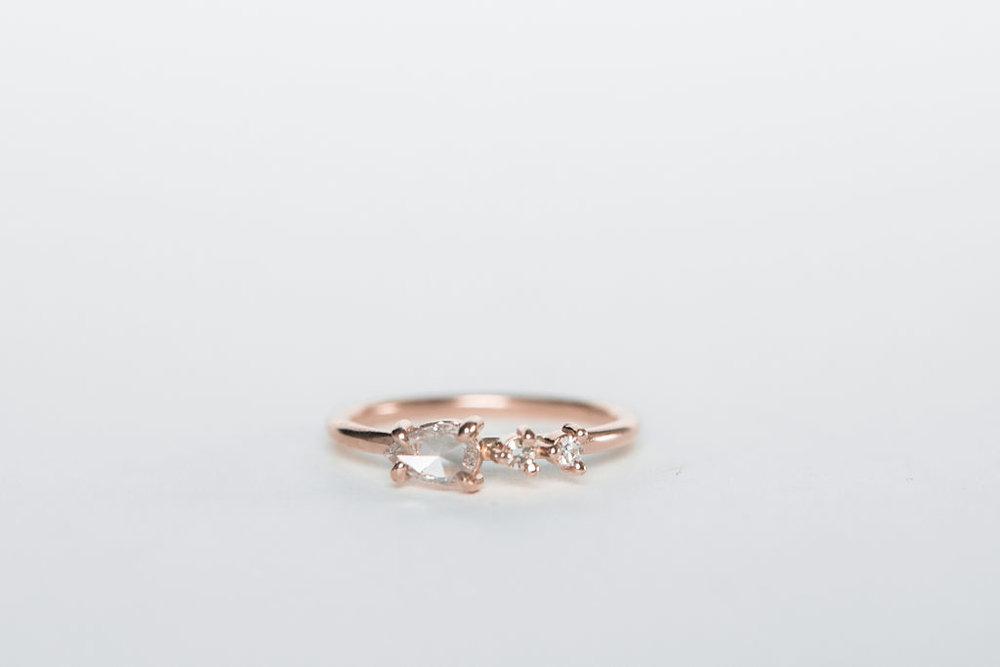 Pear Shaped Rose Cut Diamond Ring Britta Lynn Kauppila Metalsmith