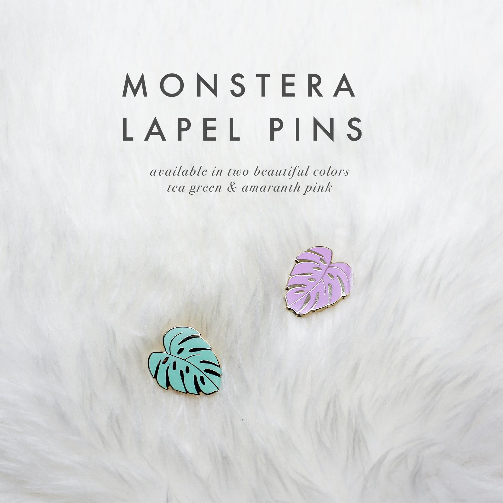 Monstera Pins by Handmade Sam*Made - www.handmadesammade.com