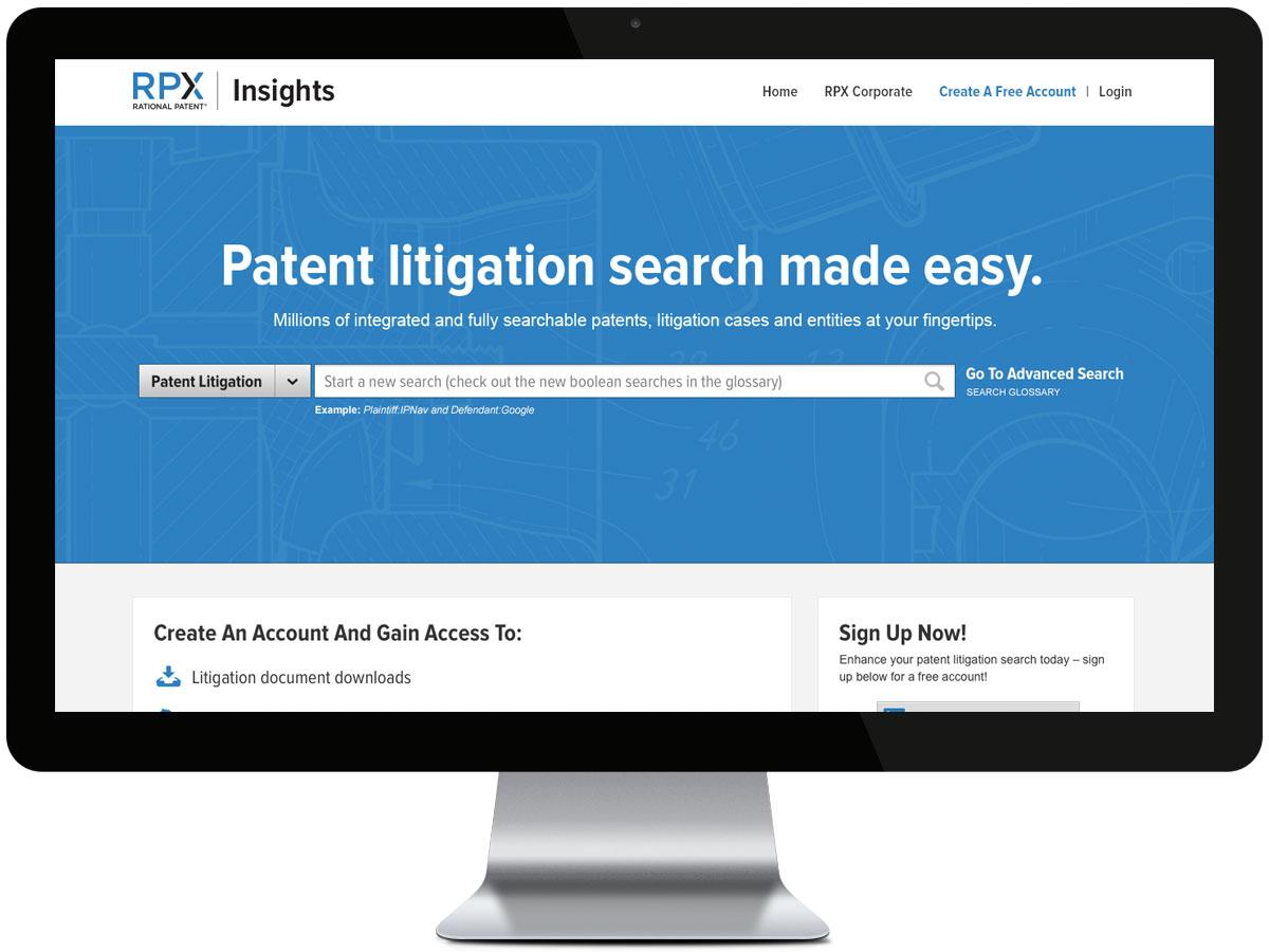 RPX Search homepage design