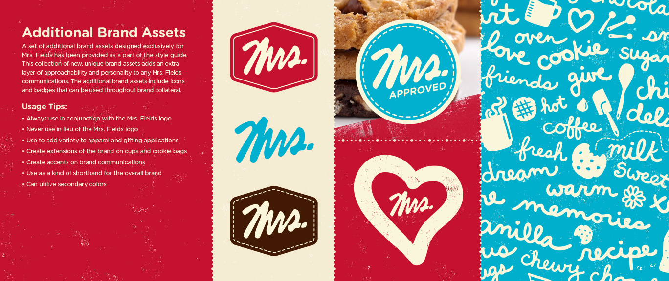 Sample from branding work for Mrs. Fields Cookies