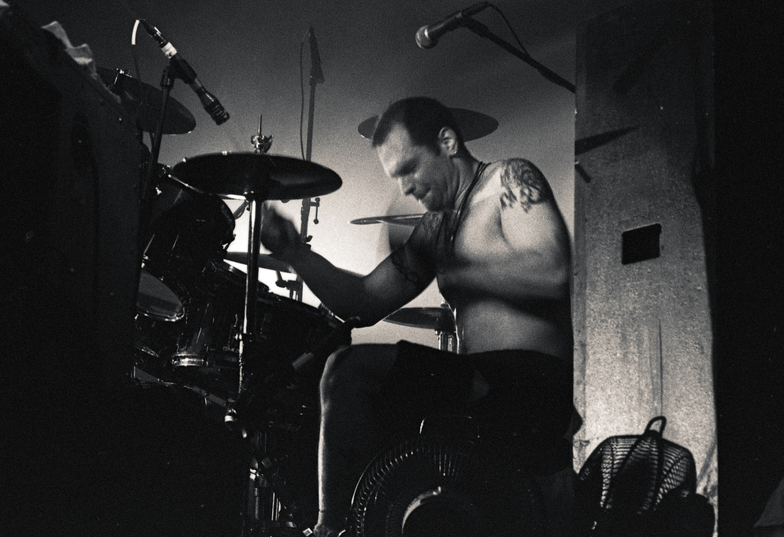 Ted Parsons, playing the drums