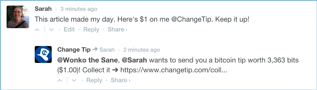 An example of a Changetip transaction over Twitter.