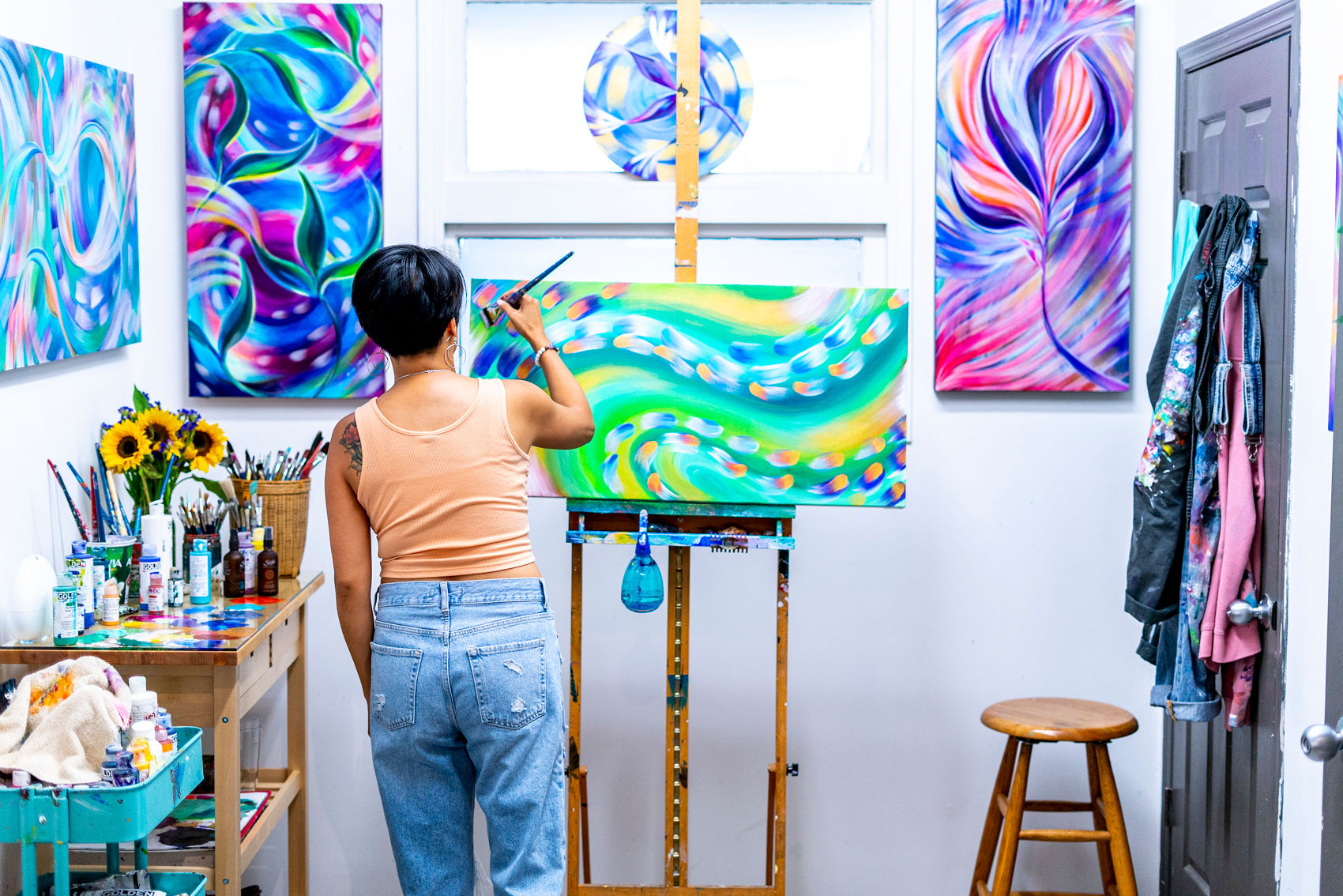 view my paintings - Colourful paintings of joyful flow blessed with messages and intentions.