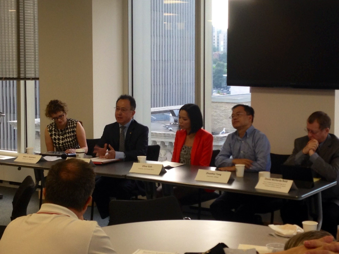Above & Below: More than three dozen thought leaders converged at a roundtable discussion last week with the Washington State China Relations Council to discuss the likely effects of recent market turbulence in China